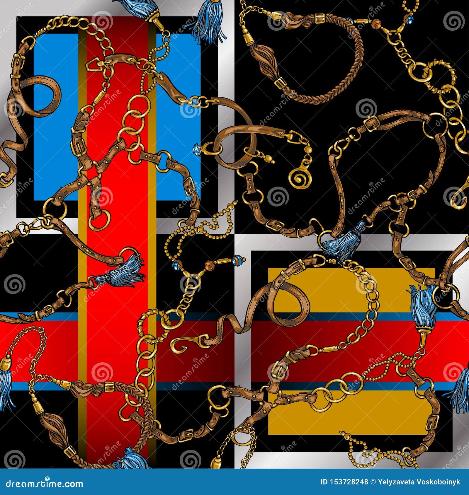 Bezszwowa tekstura w stylu 80 s od pasków i łańcuchów