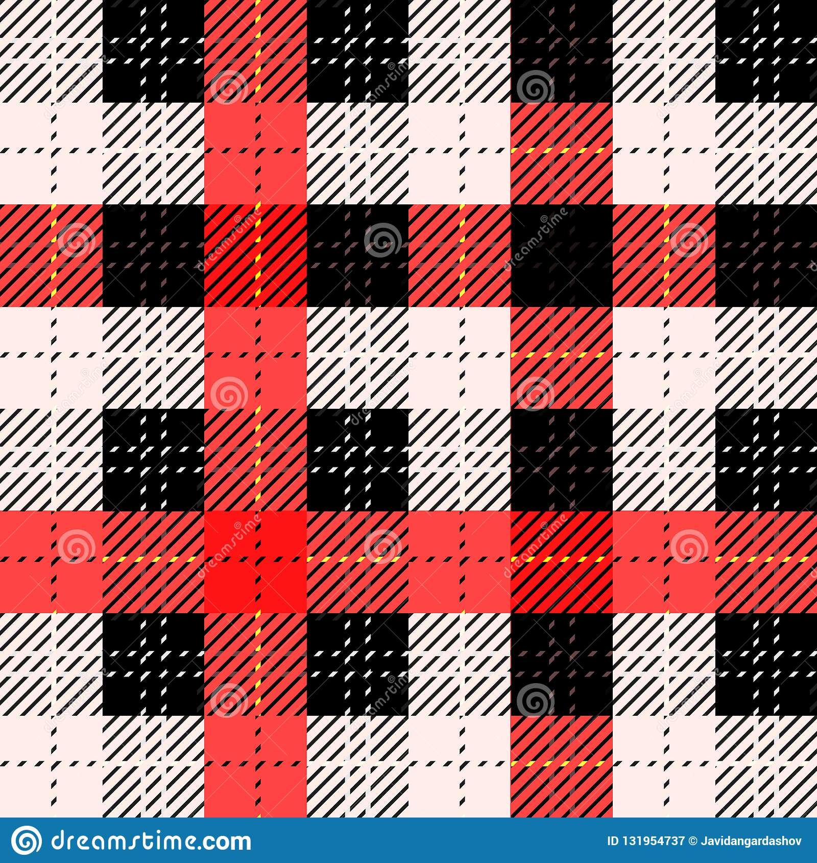 Bezszwowa tradycyjna Szkocka colourful tartan tkanina Czerń, czerwień z białymi lampasami Sukienny tło lub tekstura
