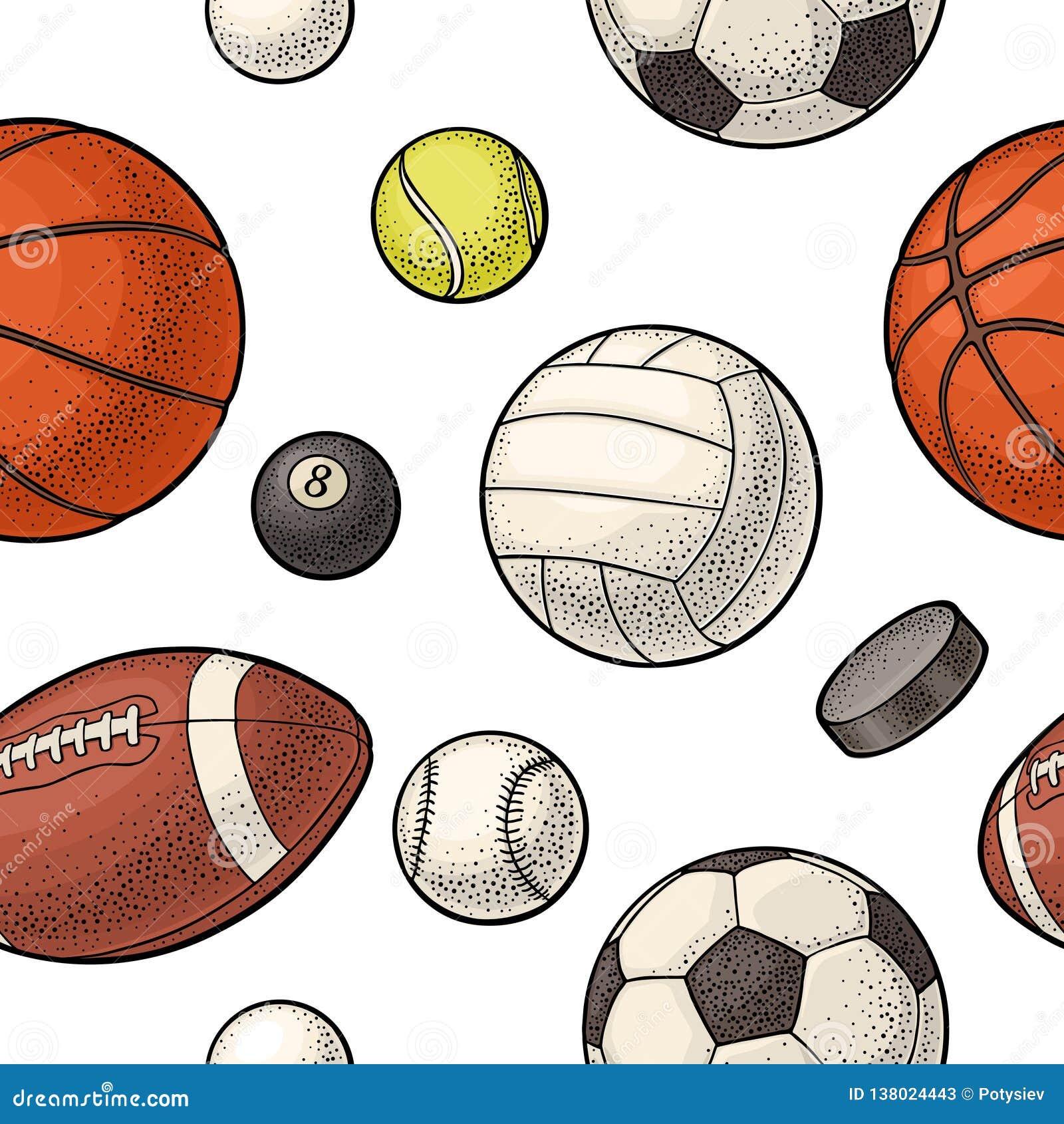 Bezszwowe deseniowe różne rodzaju sporta piłki Rocznika koloru wektorowy rytownictwo