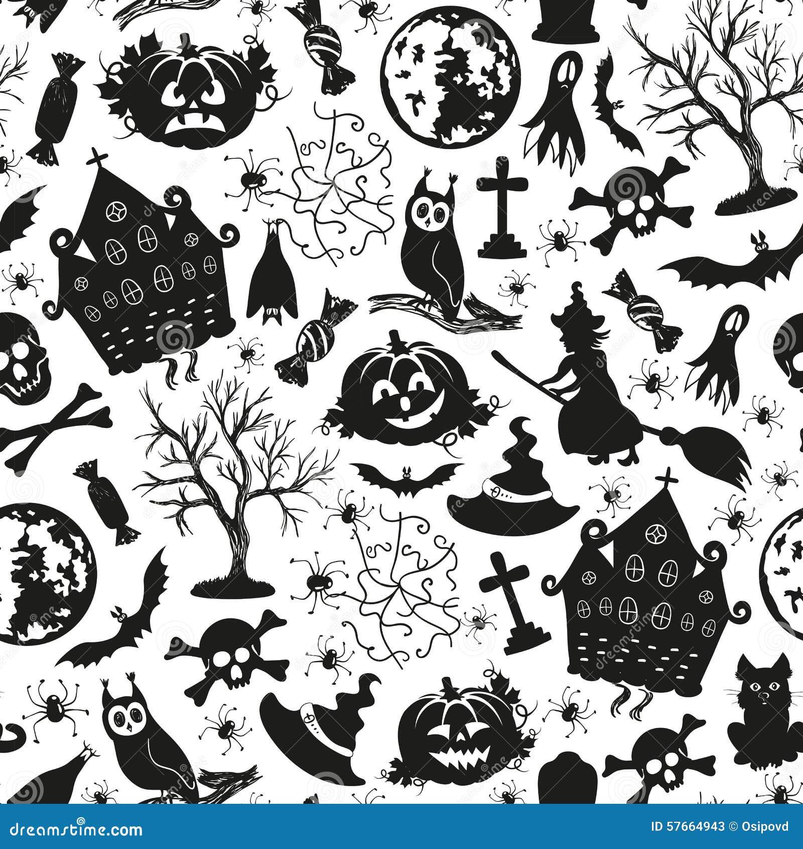 Bezszwowe rysunkowe ikony dla Halloween