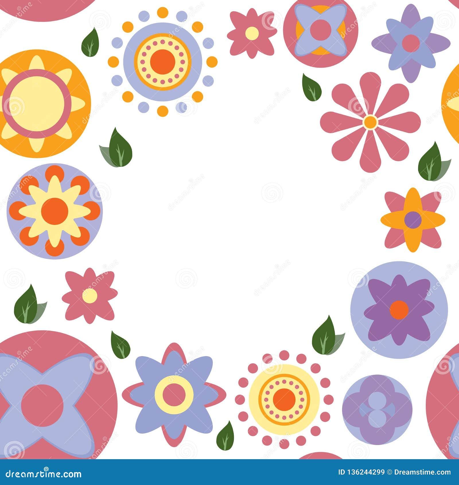 Bezszwowego colour kwiecista karta na białym tle