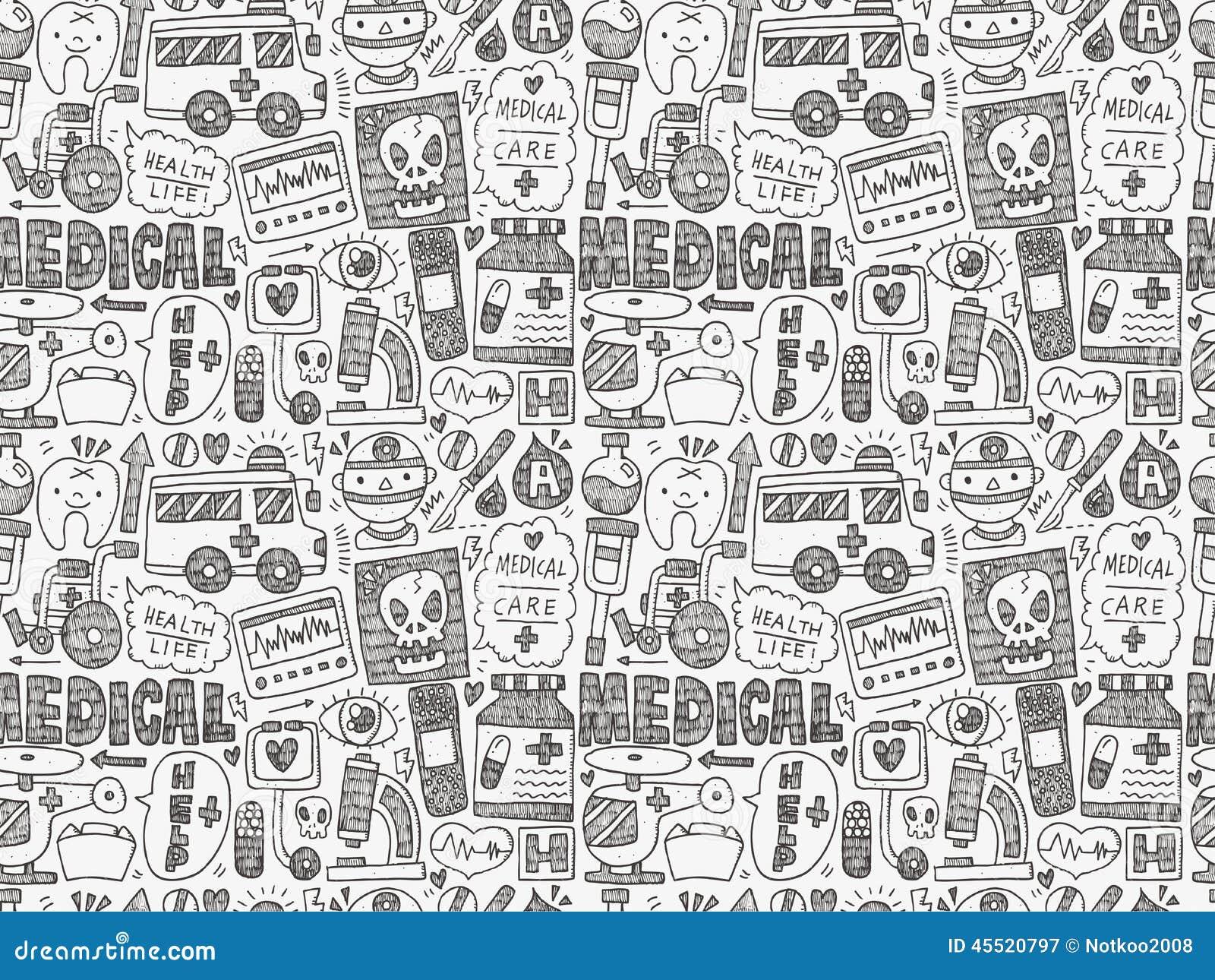Bezszwowego doodle Medyczny wzór