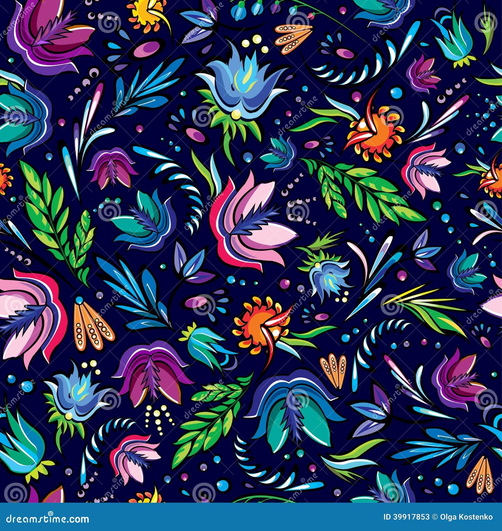 Bezszwowej kreskówki pociągany ręcznie wzór z kwiatami
