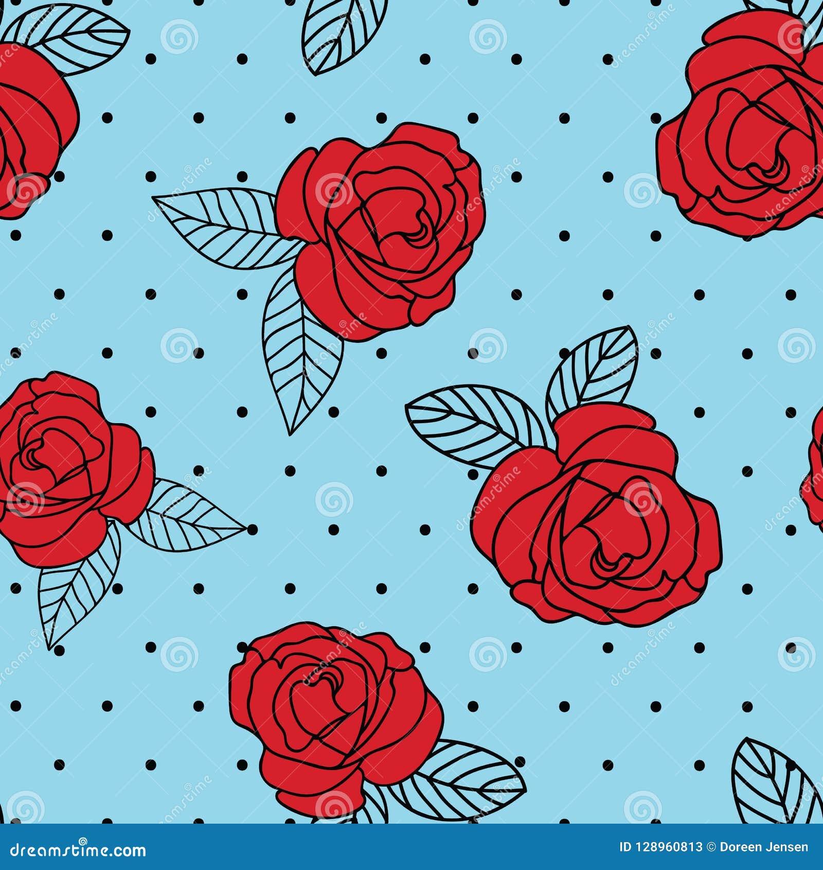 Bezszwowej wektorowej powtórki rocznika róży czerwony druk z czarną kropką błękitnym tłem i