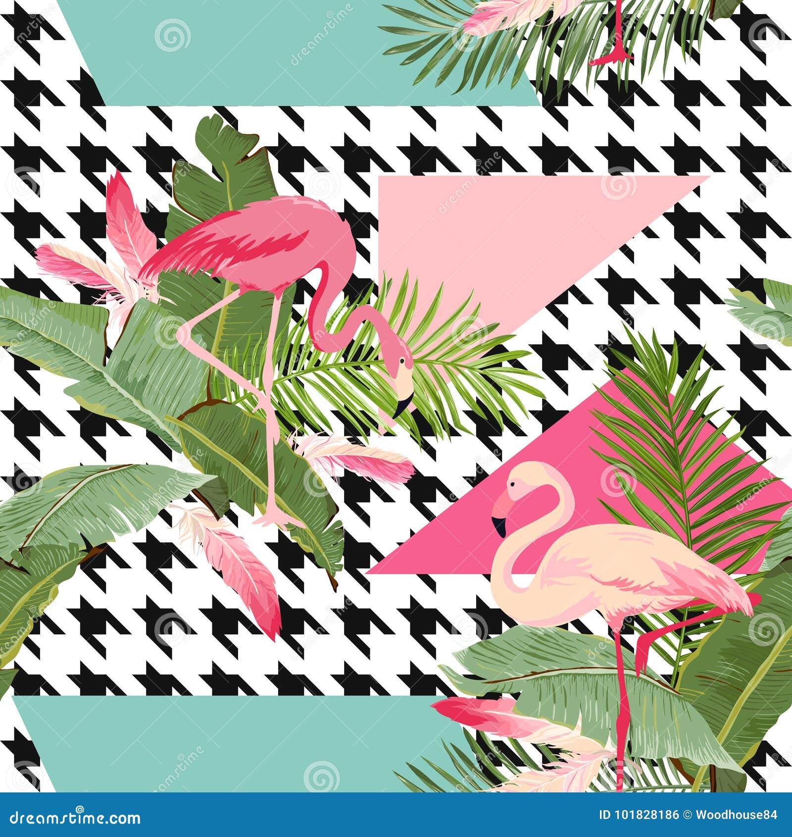 Bezszwowi Tropikalni kwiaty, flaminga lata Geometryczny wzór, Graficzny tło, Egzotyczna Kwiecista tapeta i karta,