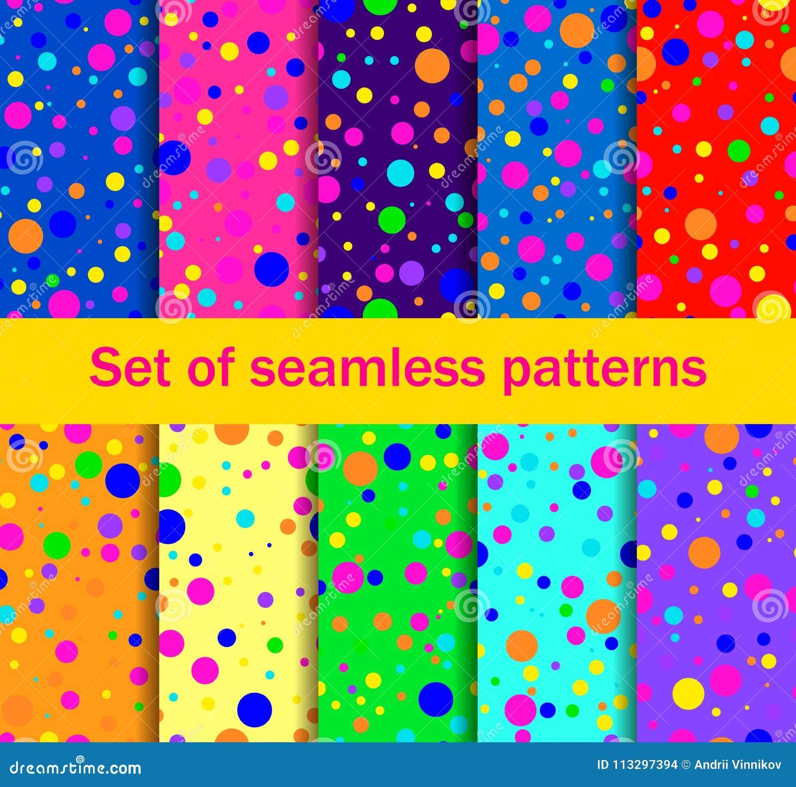 Bezszwowi wzory z barwionymi okręgami przypadkowo rozpraszają Jaskrawi kolory, kolekcja dziesięć tło wektor
