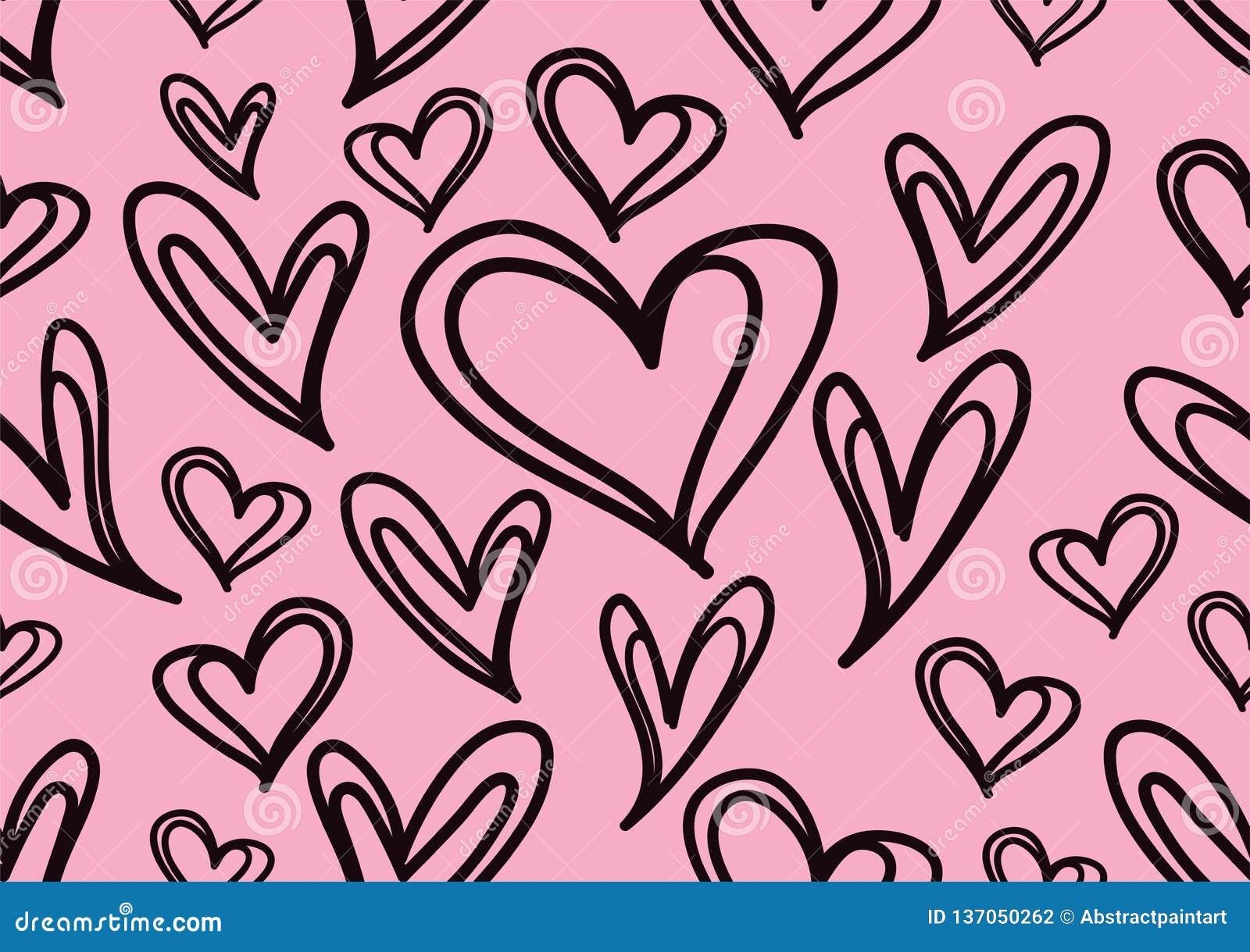 Bezszwowi wzory z czarnymi sercami, miłości tło, kierowy kształta wektor, valentines dzień, tekstura, płótno, ślubna tapeta, papi
