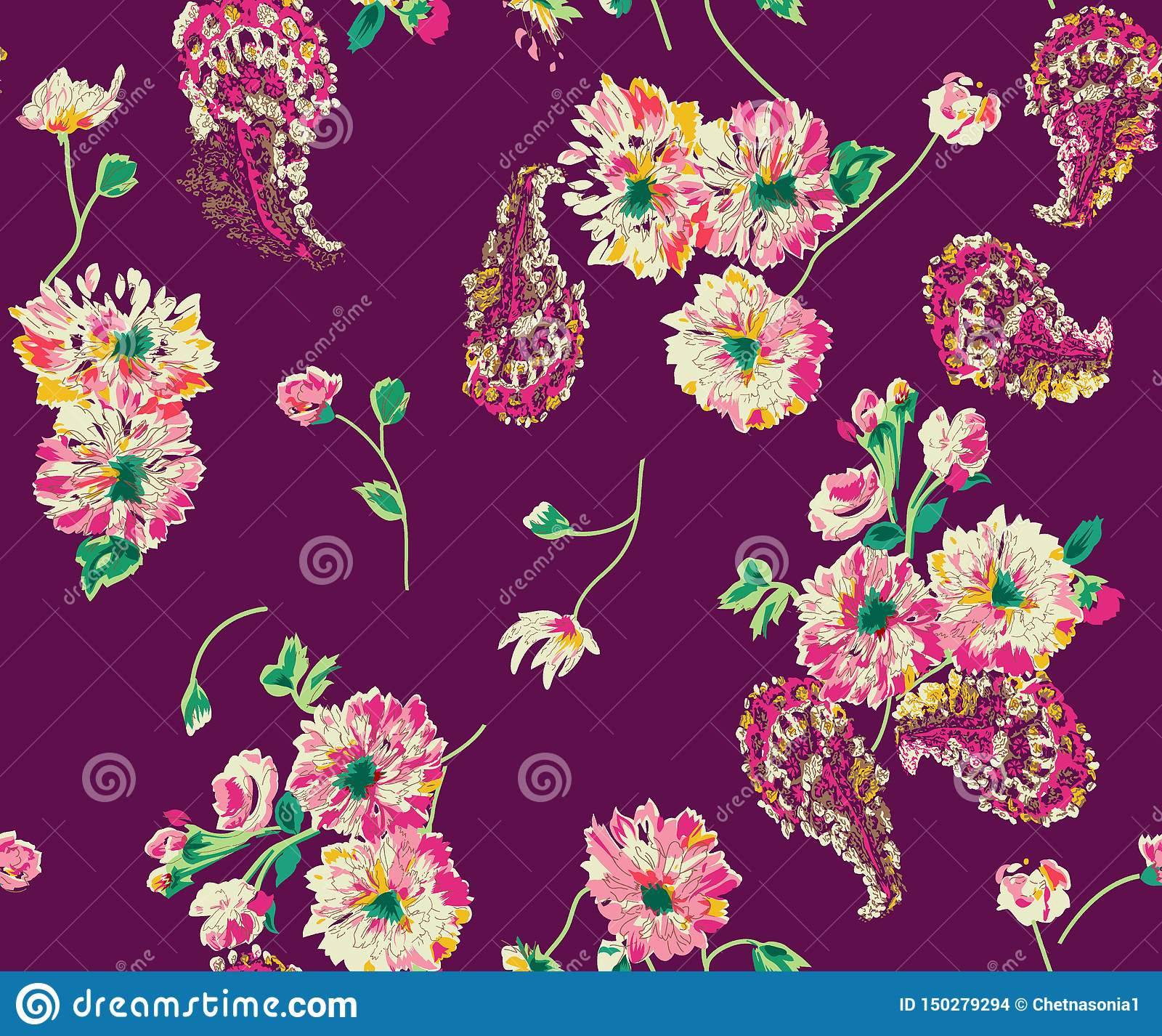 Bezszwowy abstrakcjonistyczny akwarela kwiat Paisley z tłem
