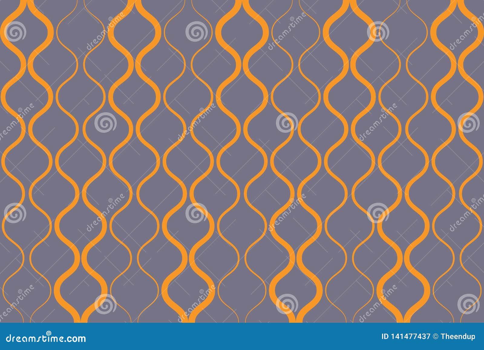 Bezszwowy, abstrakcjonistyczny tło wzór robić z curvy kolorem żółtym barwiącym, wykłada
