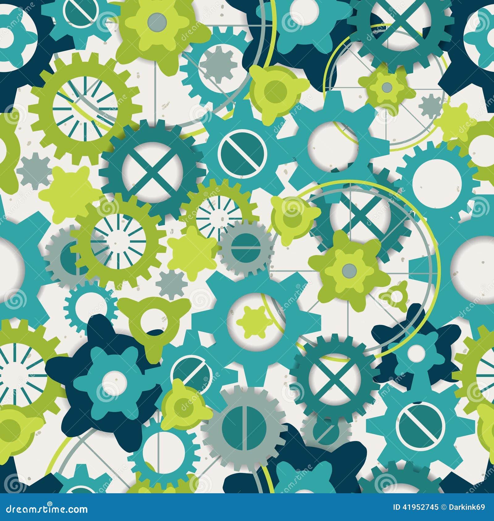 Bezszwowy abstrakta wzór pastel zieleni przekładnie