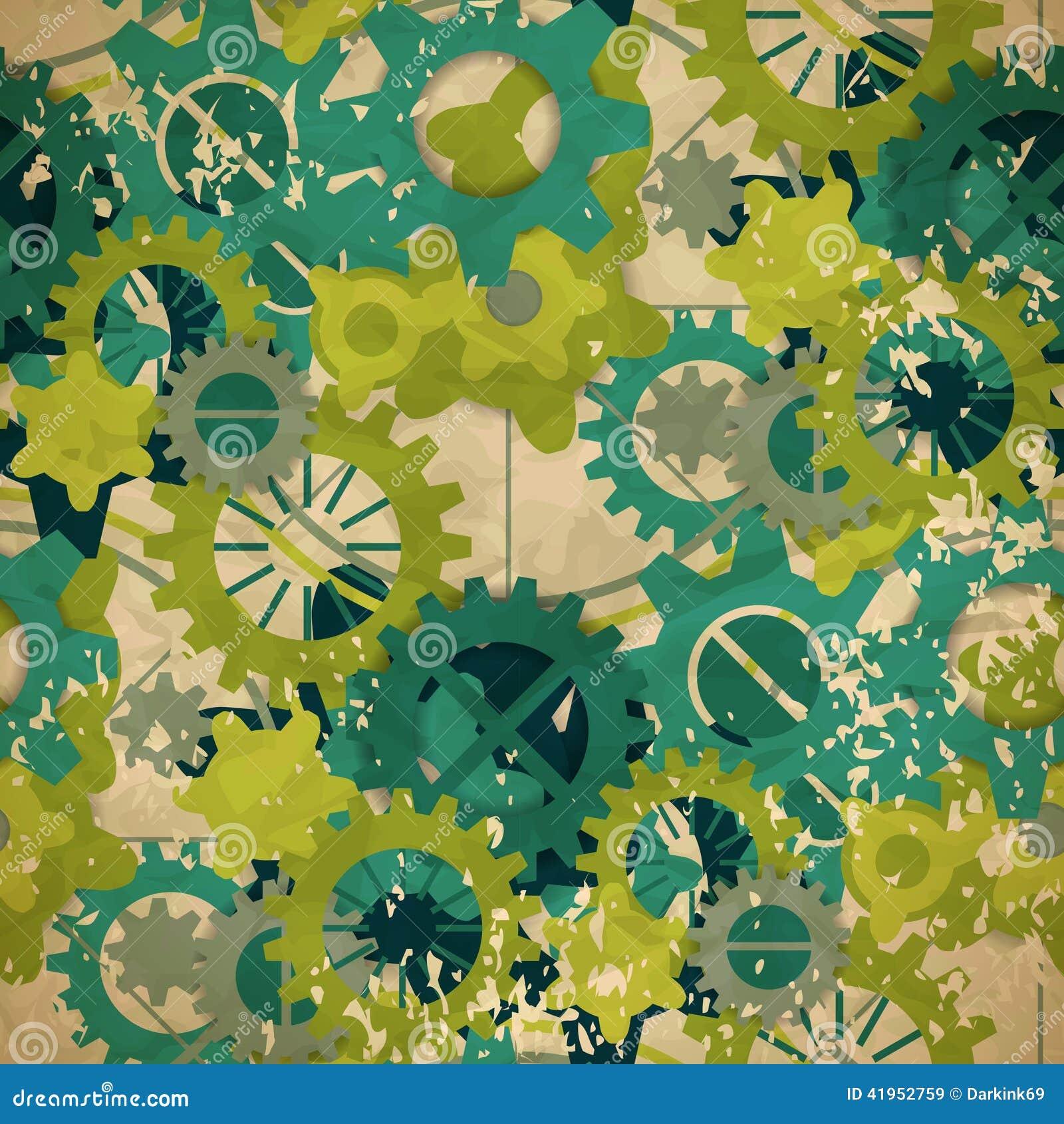 Bezszwowy abstrakta wzór pastel zieleni przekładnia w rocznika stylu