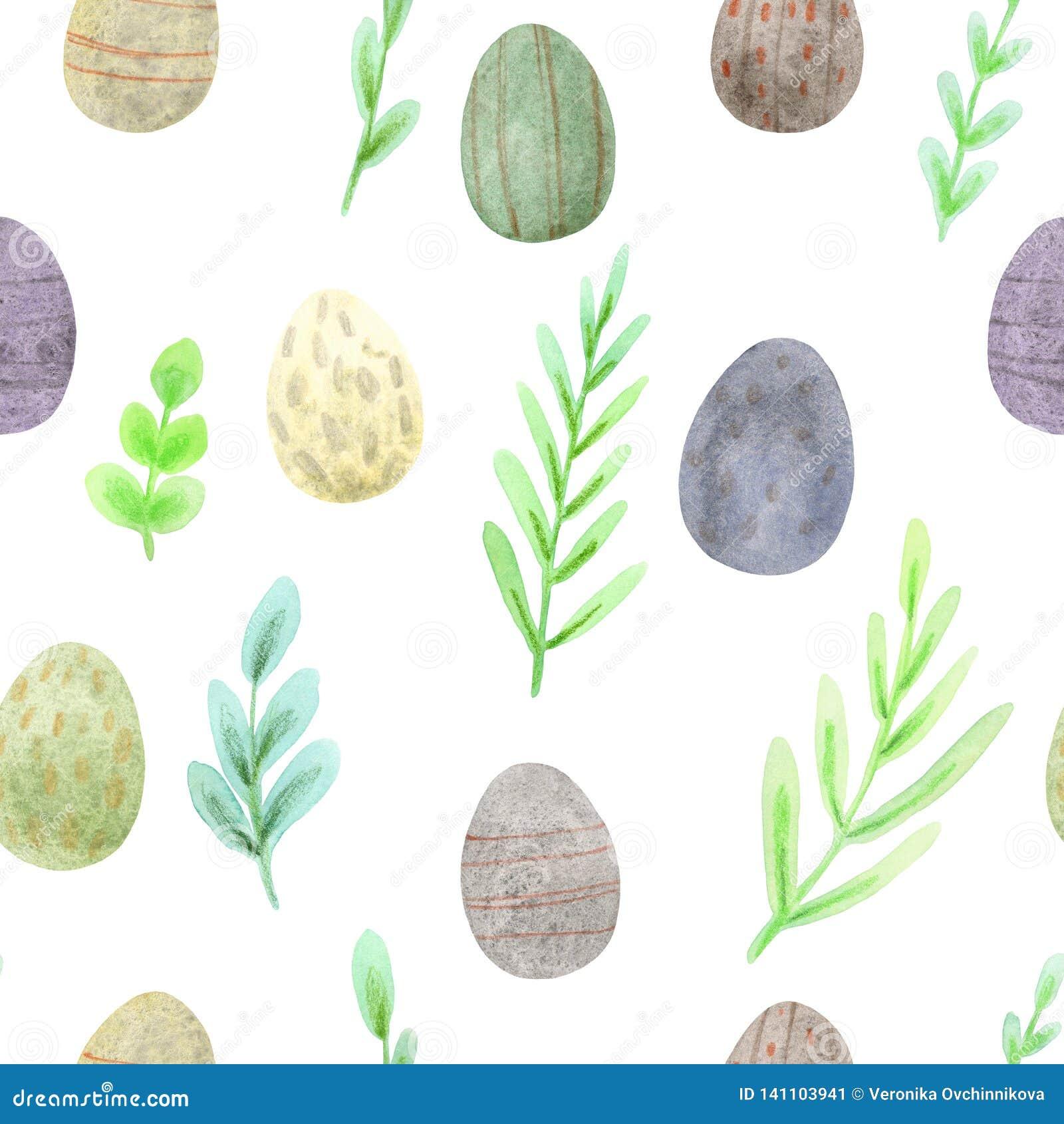 Bezszwowy akwareli Easter wzór wiosen jajka w naturalnych kolorach i zielenie