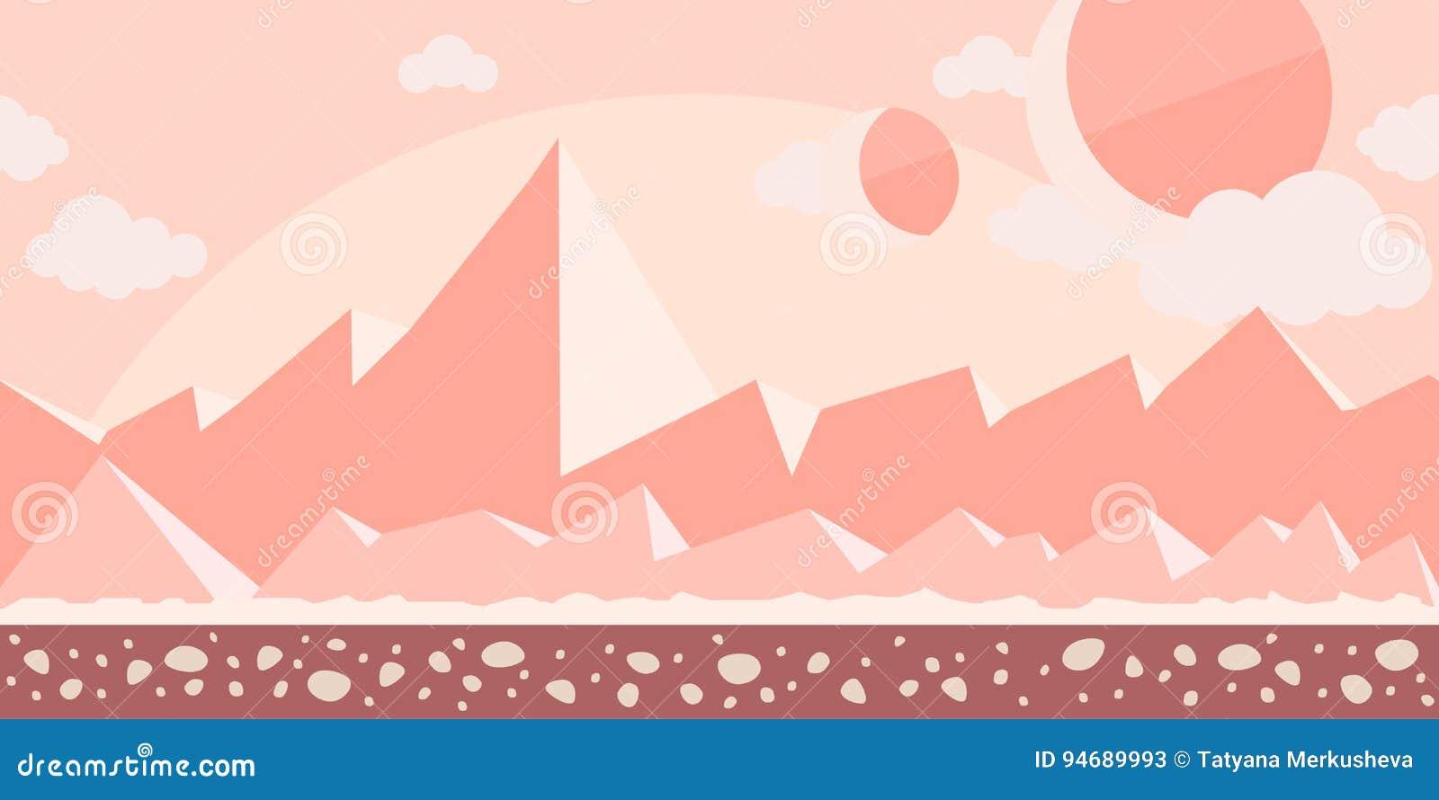 Bezszwowy bez końca tło dla gry lub animaci Powierzchnia planeta Mars lub skalista pustynia z górami w