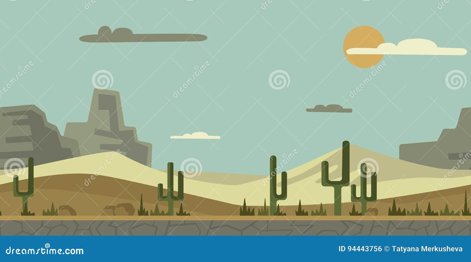 Bezszwowy bez końca tło dla gry lub animaci Pustynny krajobraz z kaktusem, kamieniami i górami w tle,