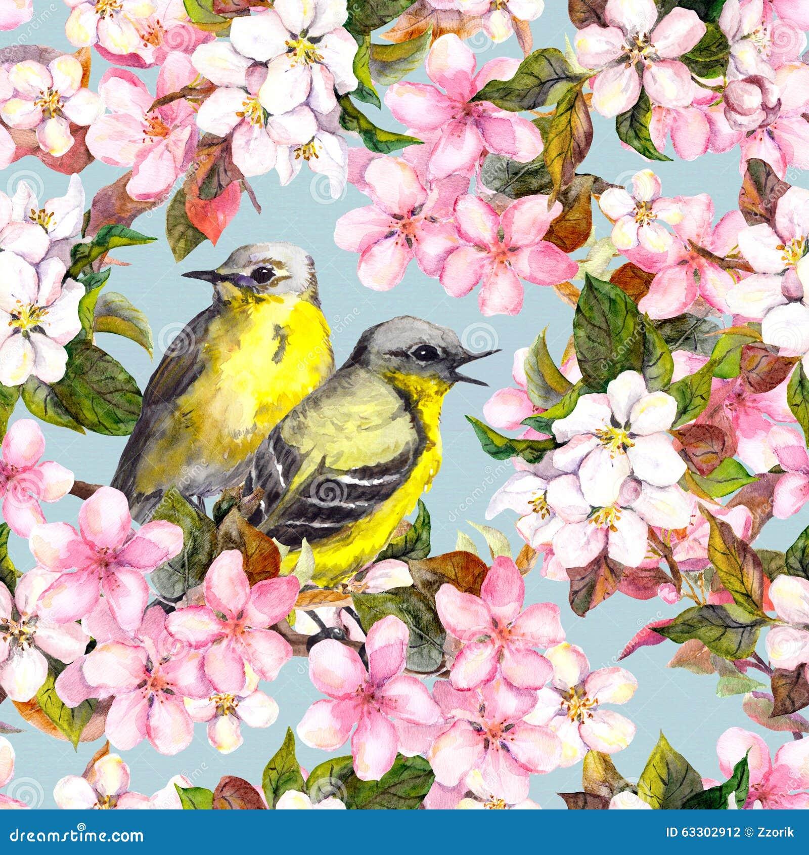 Bezszwowy częstotliwy kwiecisty wzór - różowi wiśni, Sakura i jabłka kwiaty z ptakami, akwarela