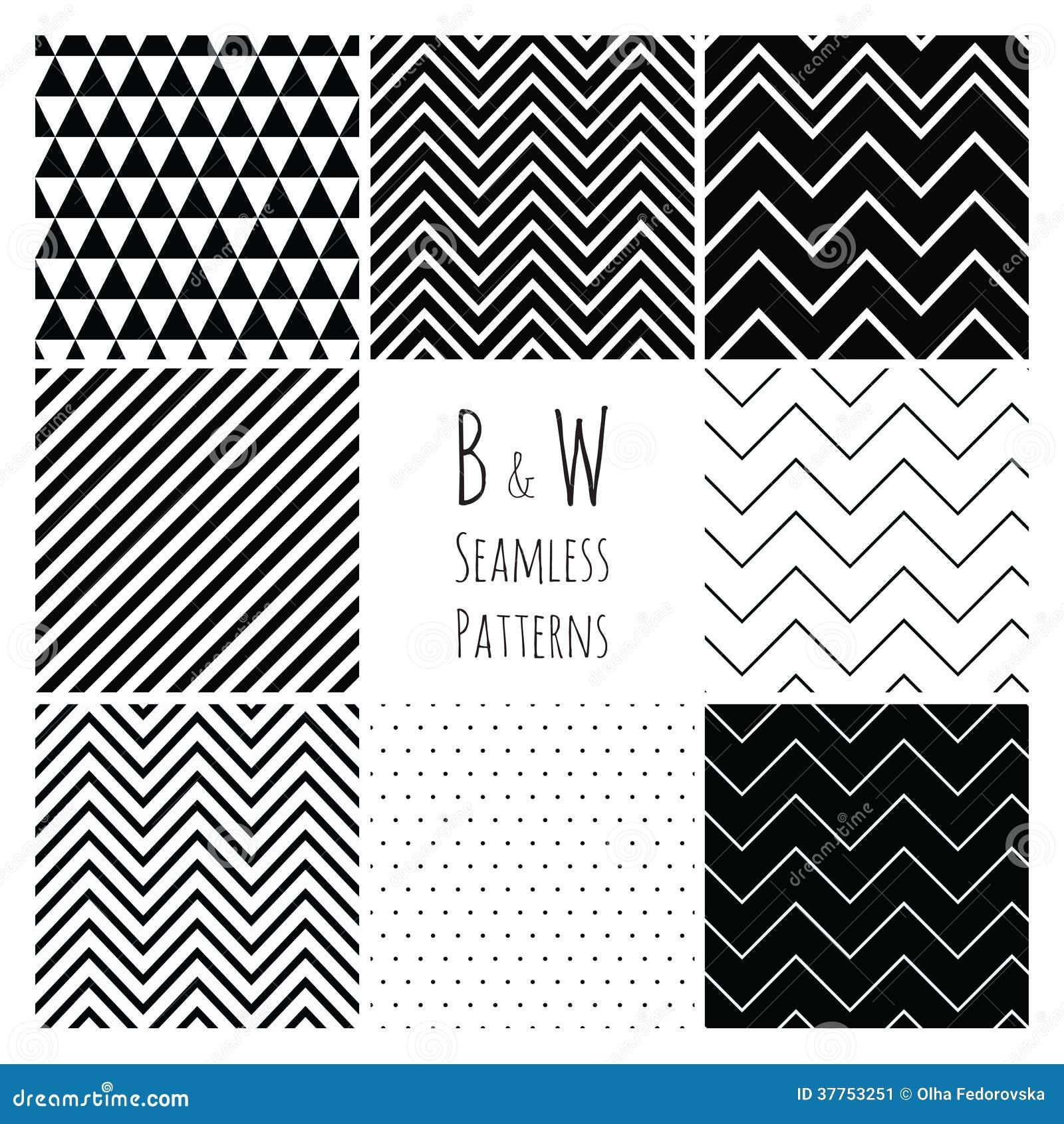 Bezszwowy Czarny I Biały geometryczny tło set.