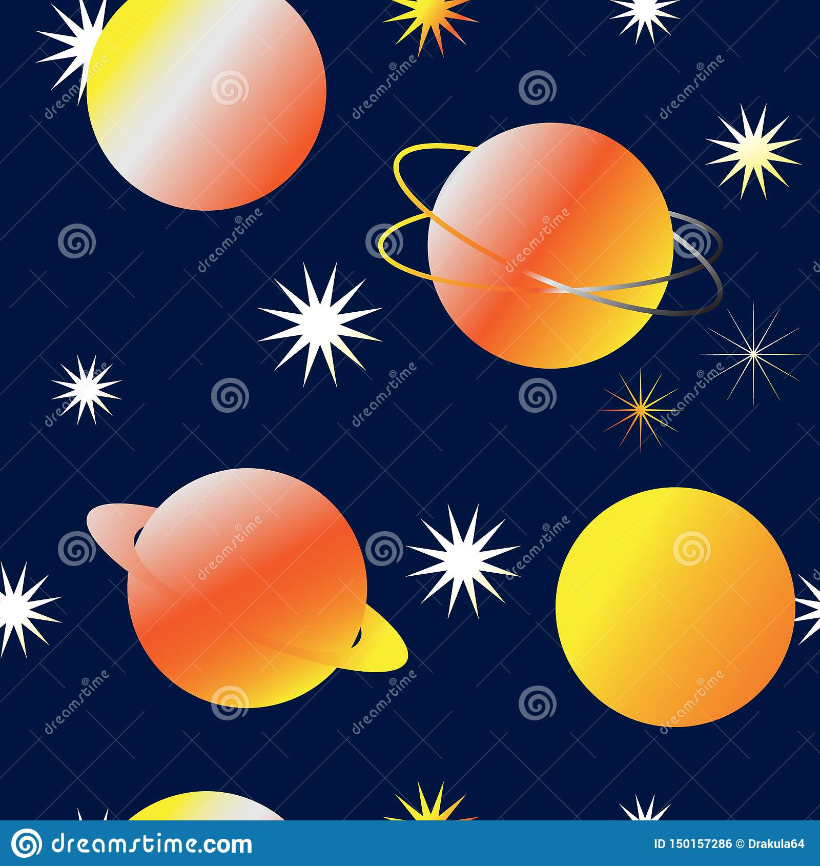 Bezszwowy czarodziejki przestrzeni tło z jaskrawym kolorem żółtym planetuje i gra główna rolę
