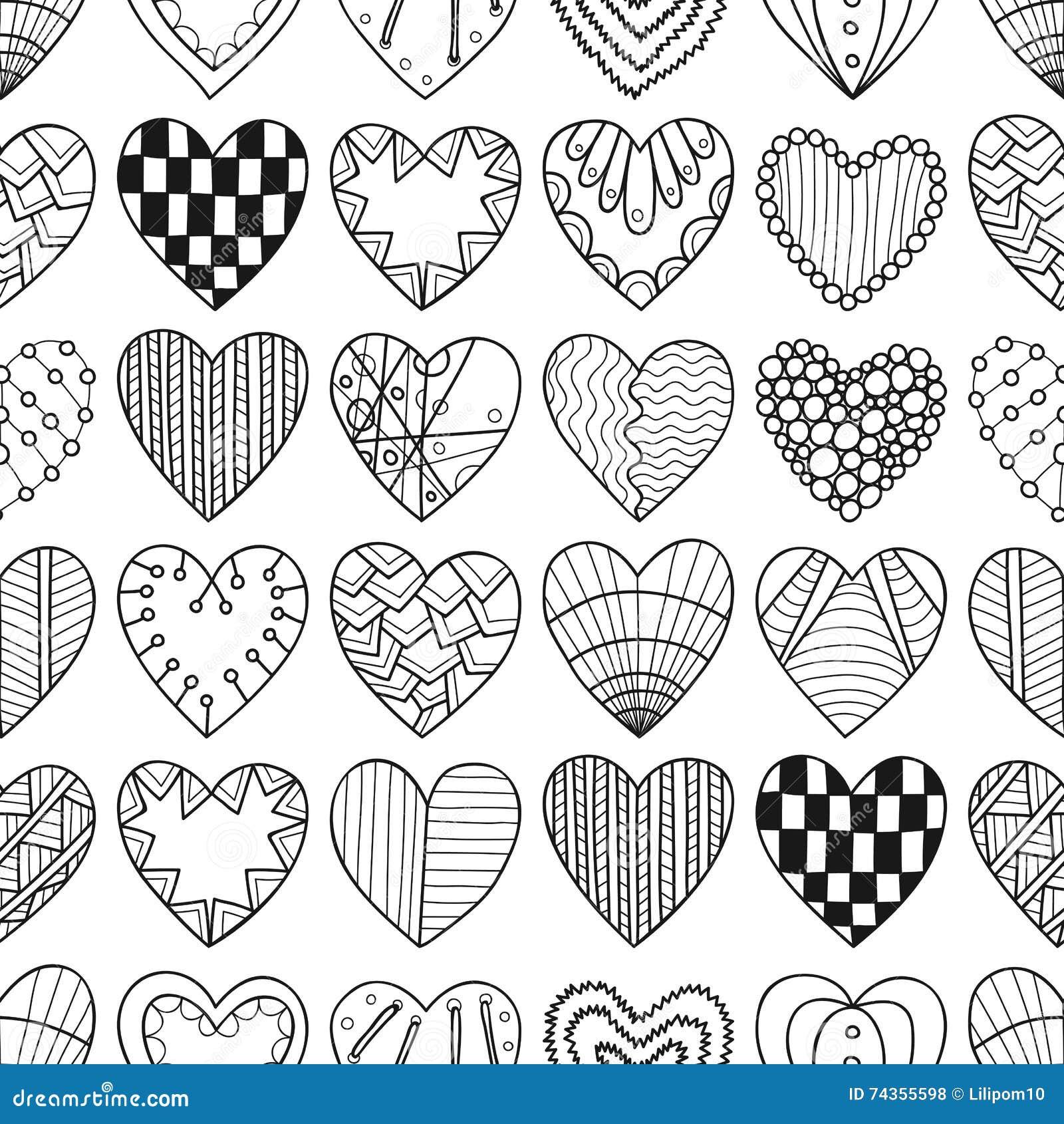 b2f0d914887d6c Bezszwowy czarny i biały wzór z dekoracyjnymi sercami dla kolorystyki  książki również zwrócić corel ilustracji wektora