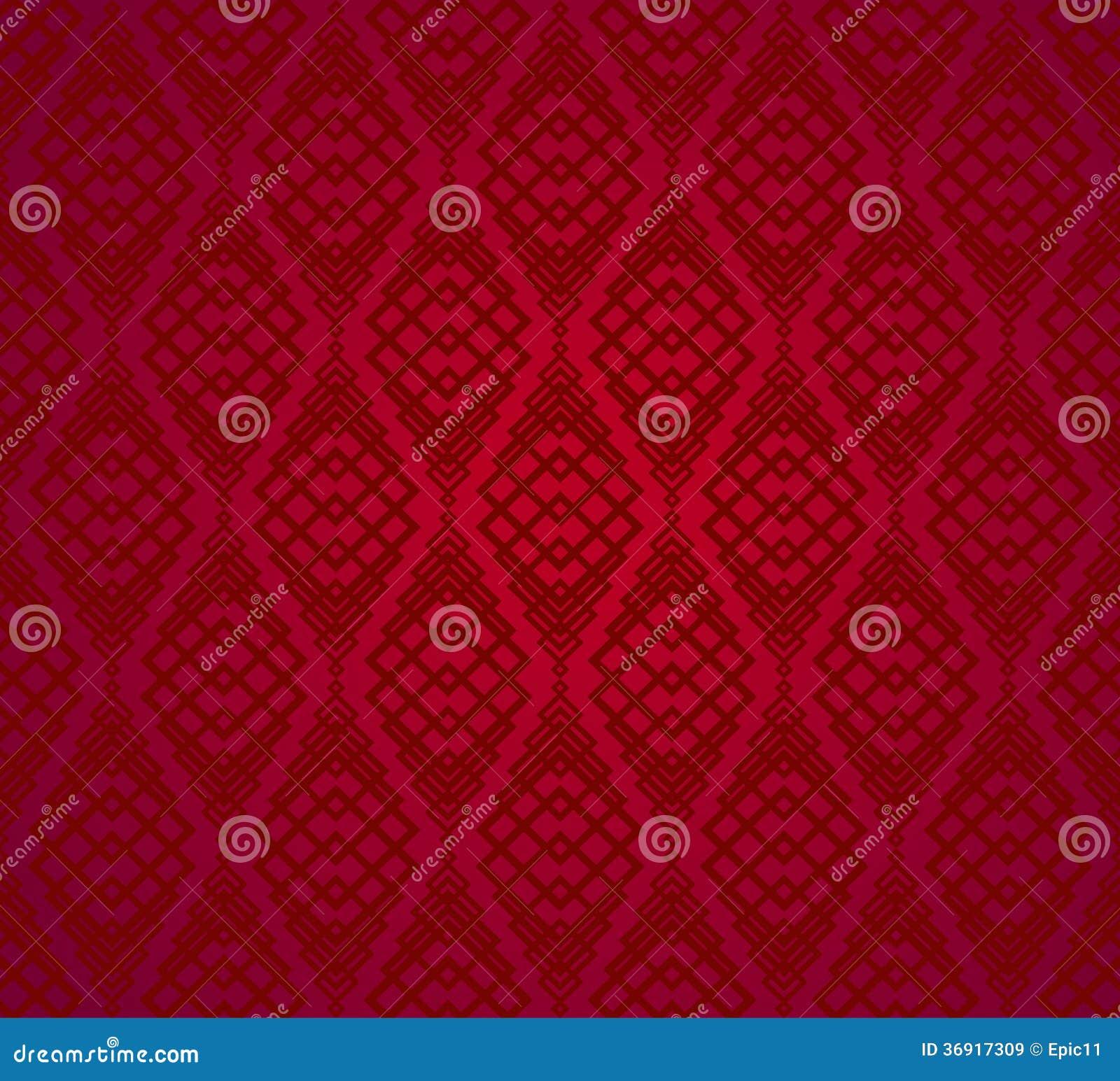 Bezszwowy Czerwony Retro Deseniowy tło