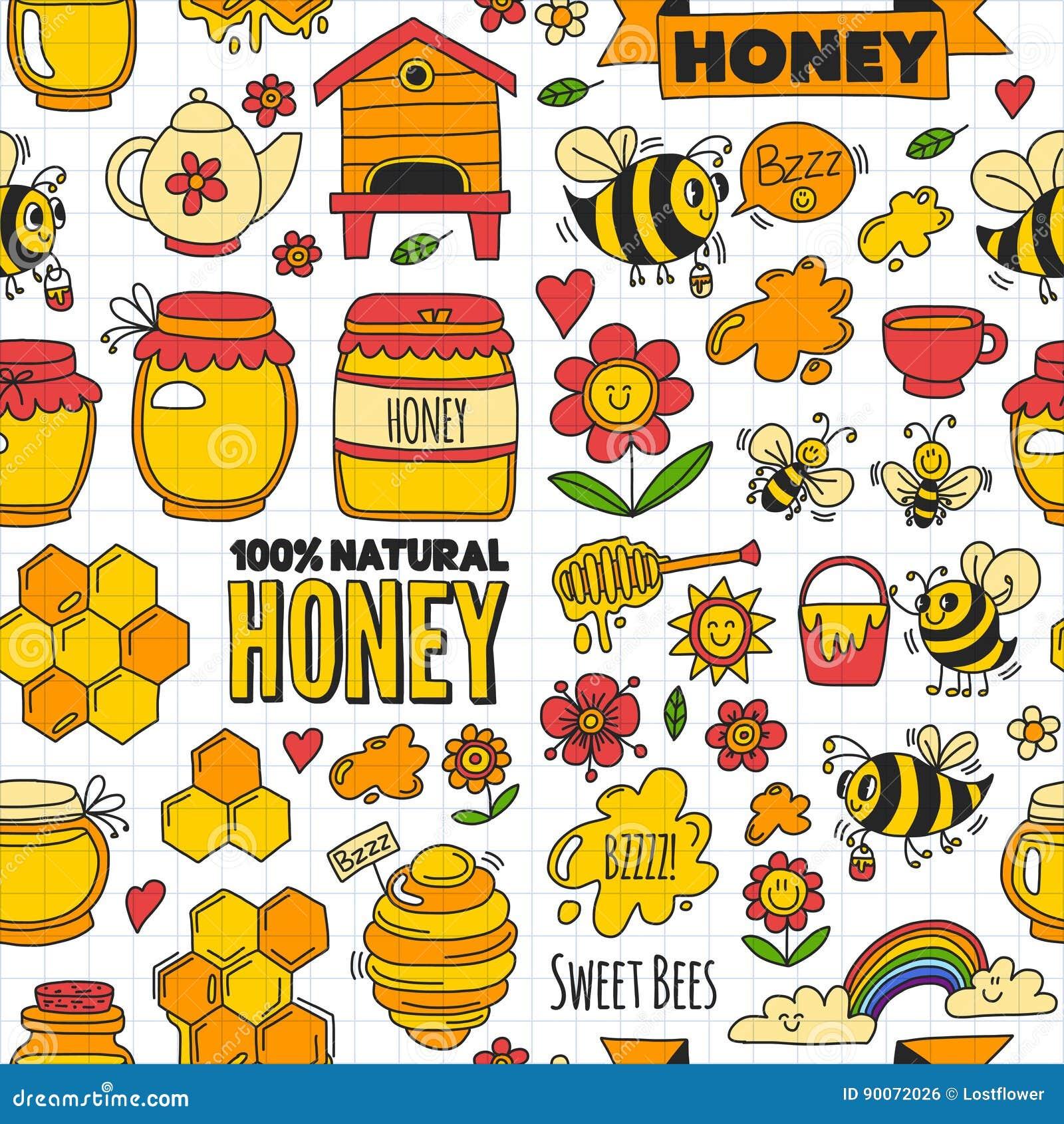 Bezszwowy deseniowy miodu rynek, bazar, miodowi uczciwi Doodle wizerunki pszczoły