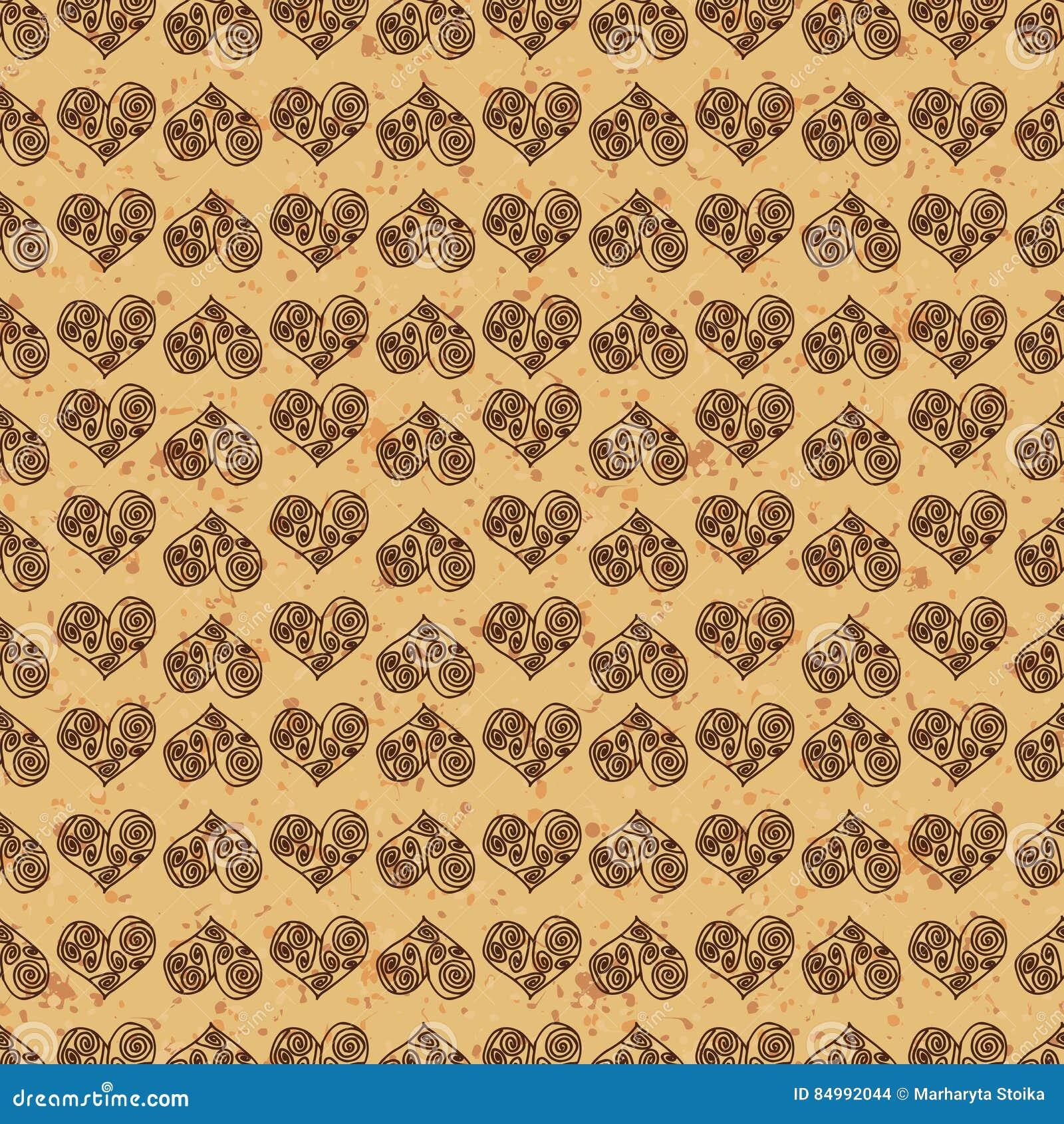 Bezszwowy deseniowy tło Brown serca na złoto ziemi Polubienie tapeta