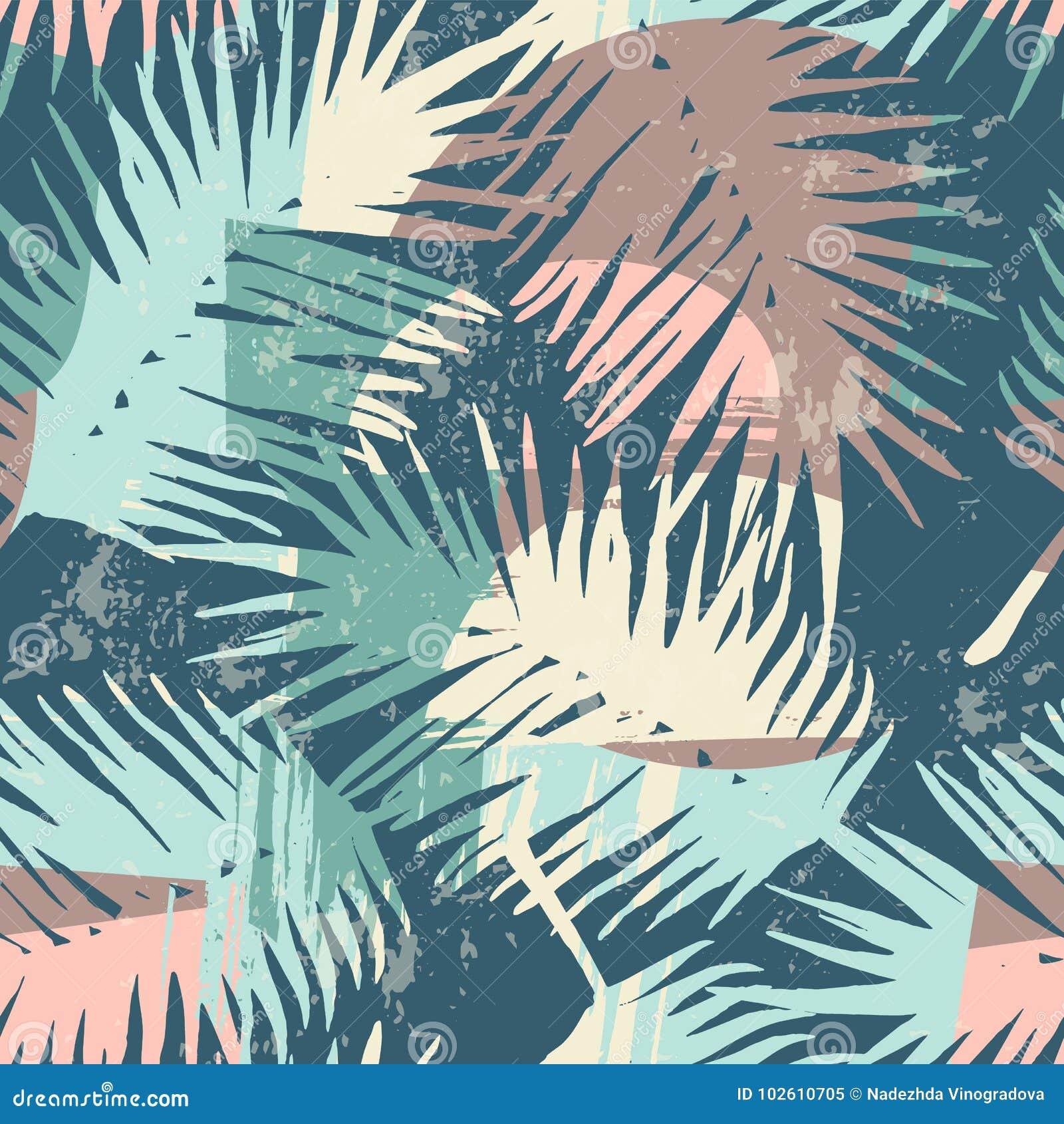 Bezszwowy egzota wzór z tropikalnymi roślinami i artystycznym tłem
