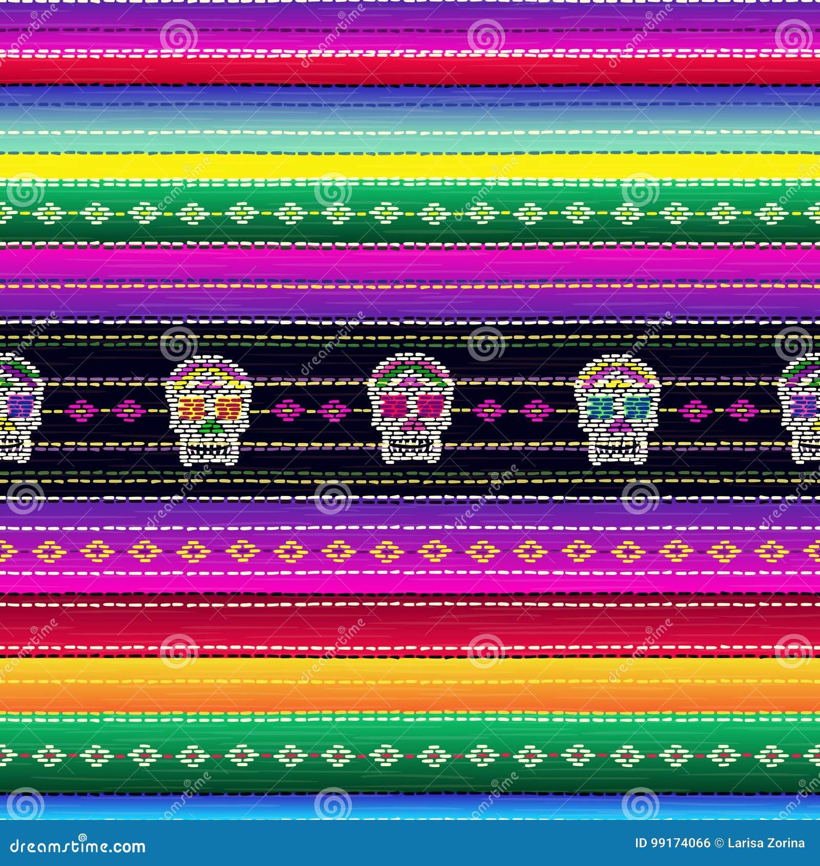 Bezszwowy etniczny meksykański tkanina wzór z kolorową lampasów i Catrina ` s czaszką