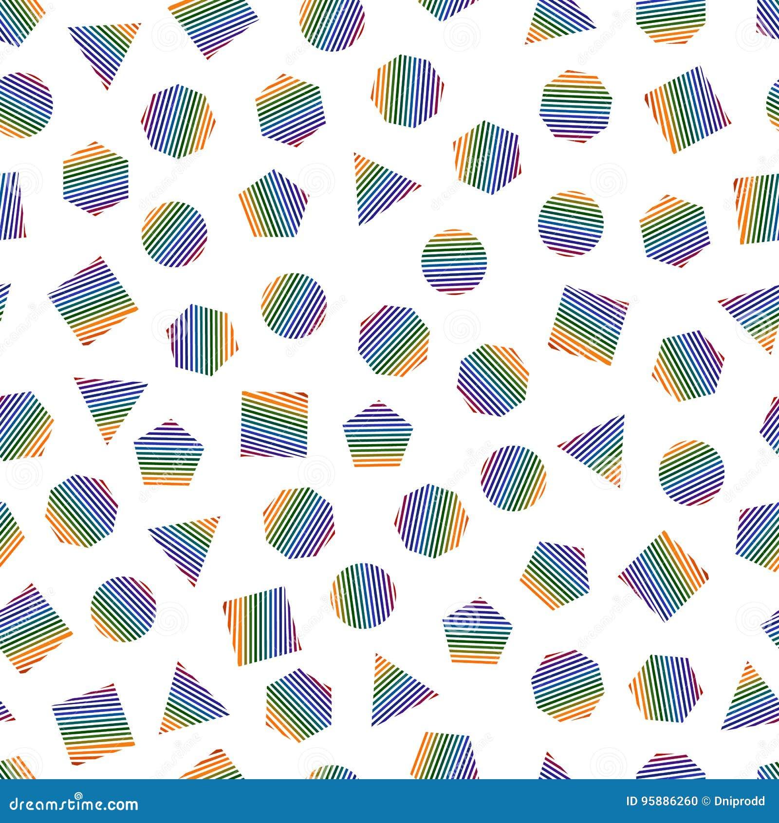 Bezszwowy geometryczny wzór z stubarwnymi geometrycznymi elementami dla tkanki i pocztówek Modnisia koloru nowożytny tło