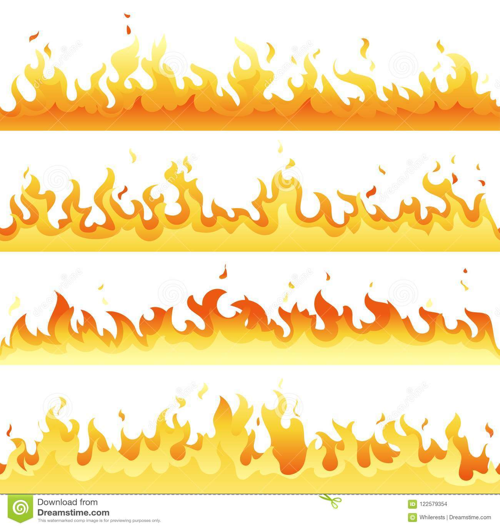 Bezszwowy gorący pożarniczy płomienia set, niebezpieczeństwo ogienia światła kolekcja odizolowywająca na białym tle Wektorowa cze