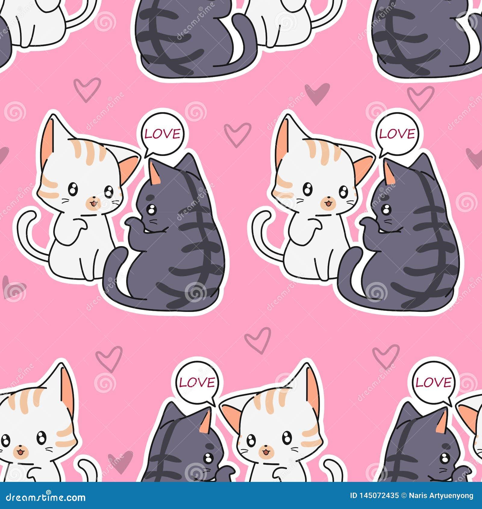 Bezszwowy kochanków kotów wzór