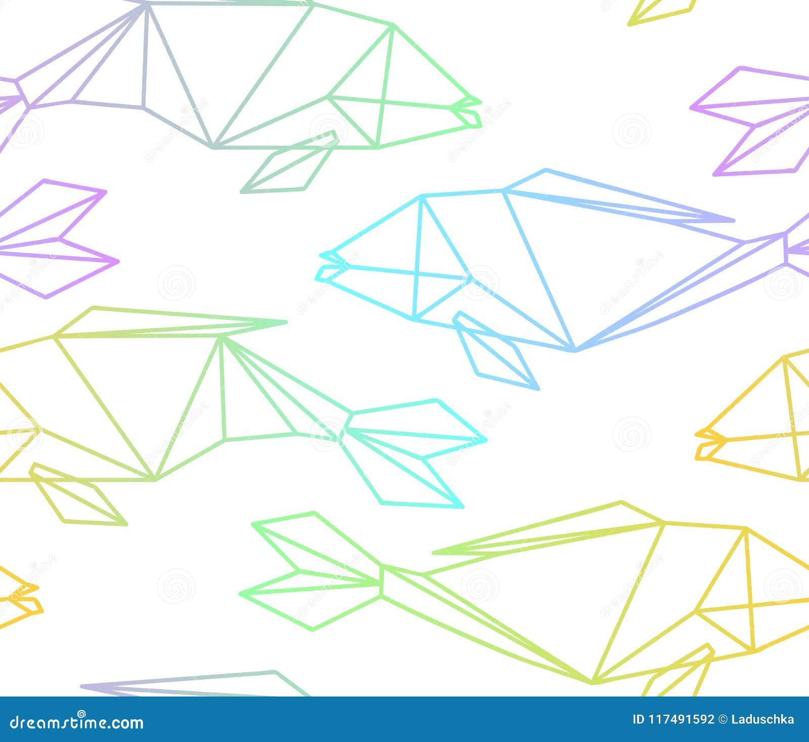 Bezszwowy kolorowy liniowy wielobok ryba wzór