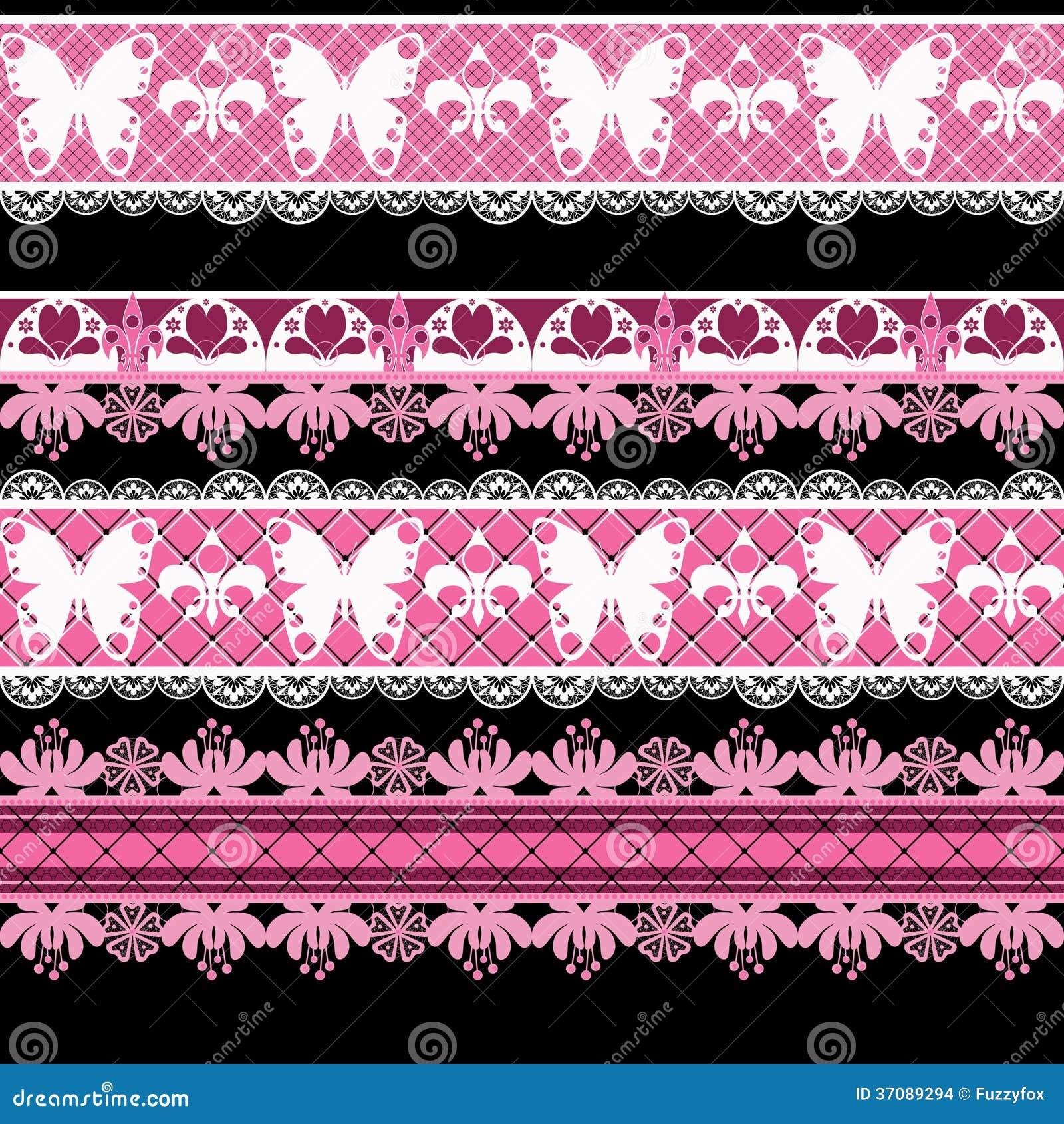 Download Bezszwowy Koronkowy Koronkowy Washi Taśm Wzór Na Białym Tle Ilustracji - Ilustracja złożonej z ślimacznica, motyl: 37089294