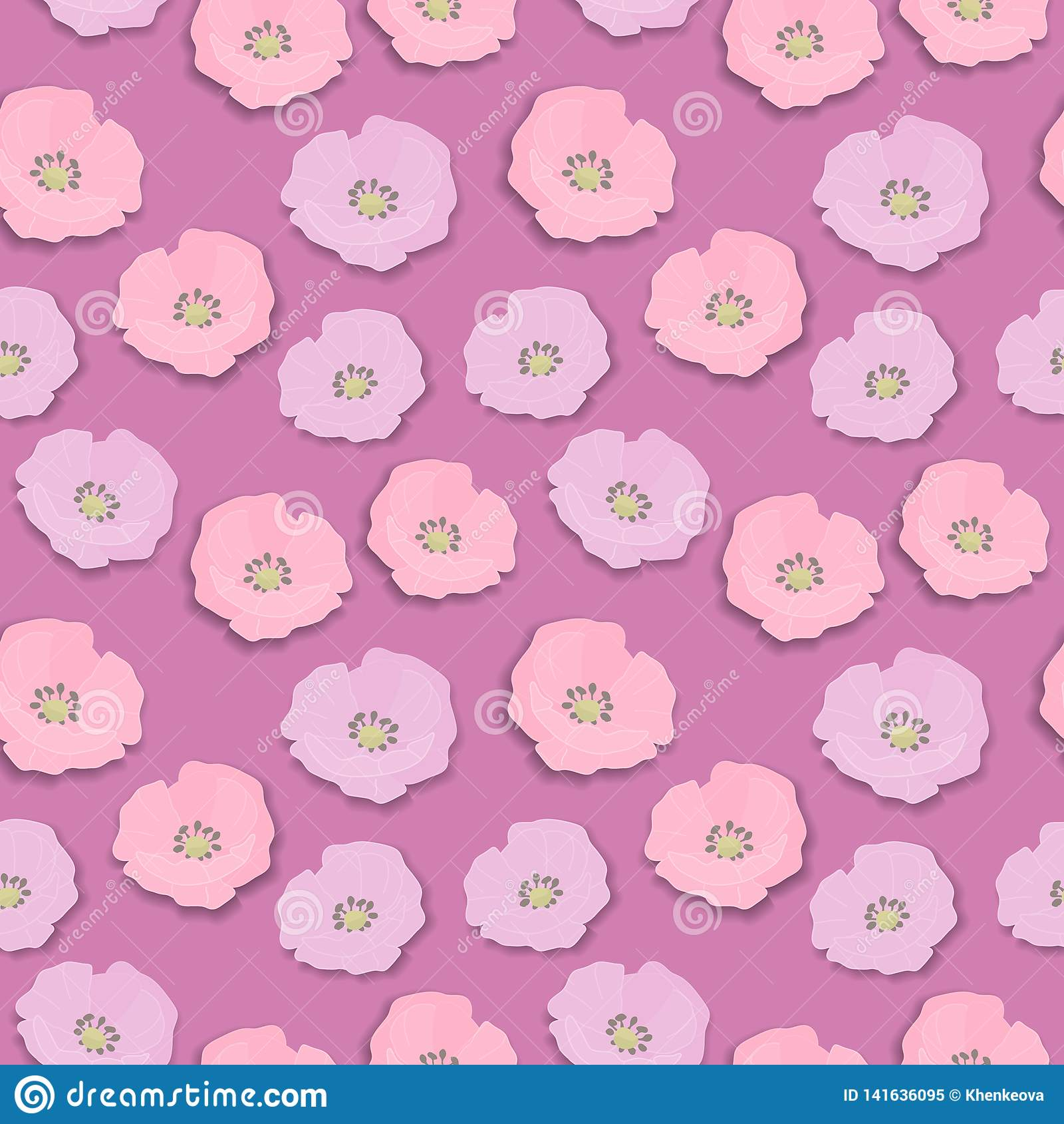 Bezszwowy kwiatu wzór z menchiami i lile dzikie róże kwitniemy, rocznika retro styl z cieniem odizolowywającym na menchiach