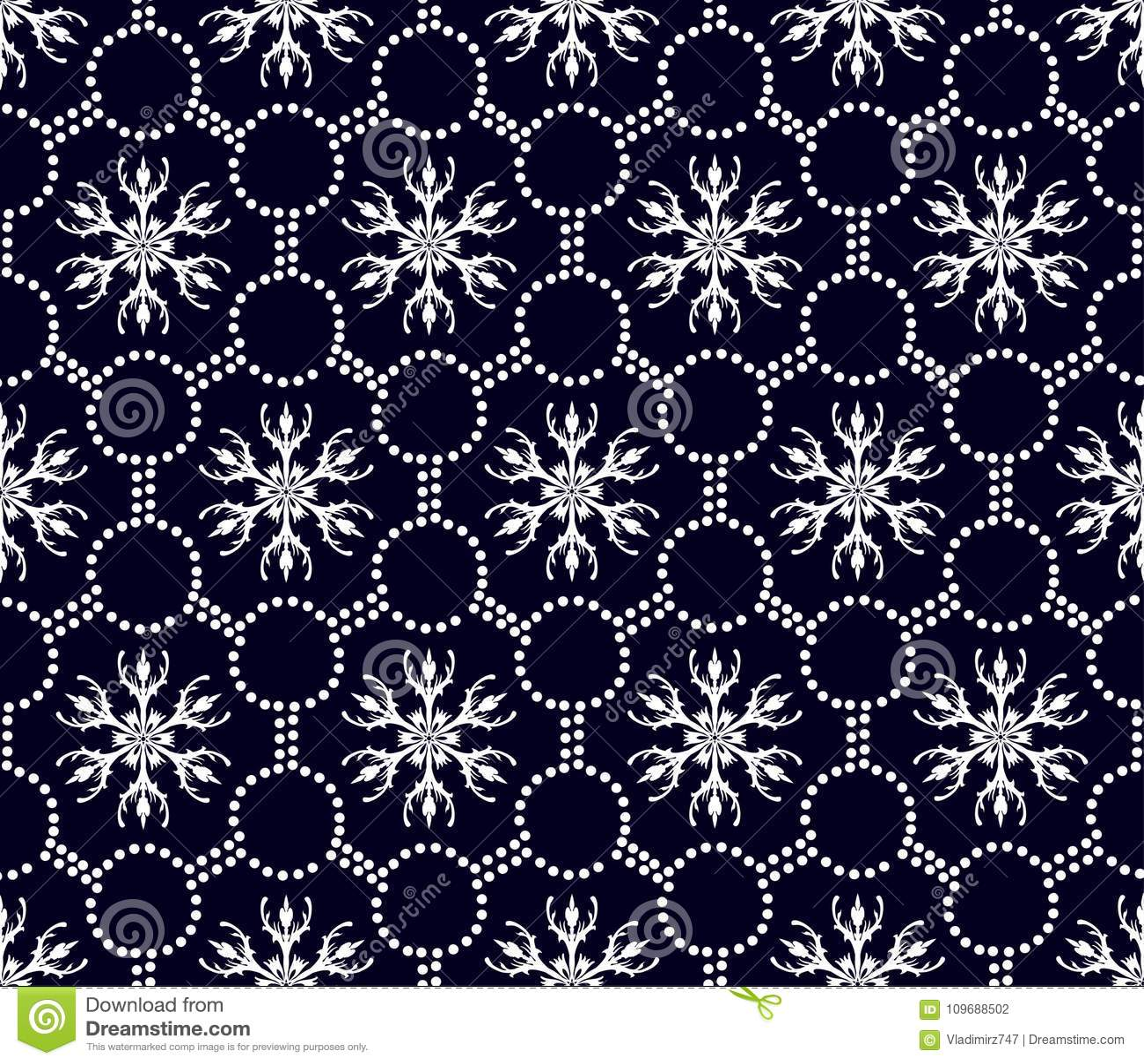 Bezszwowy kwiecisty wzór geometryczni biali kształty
