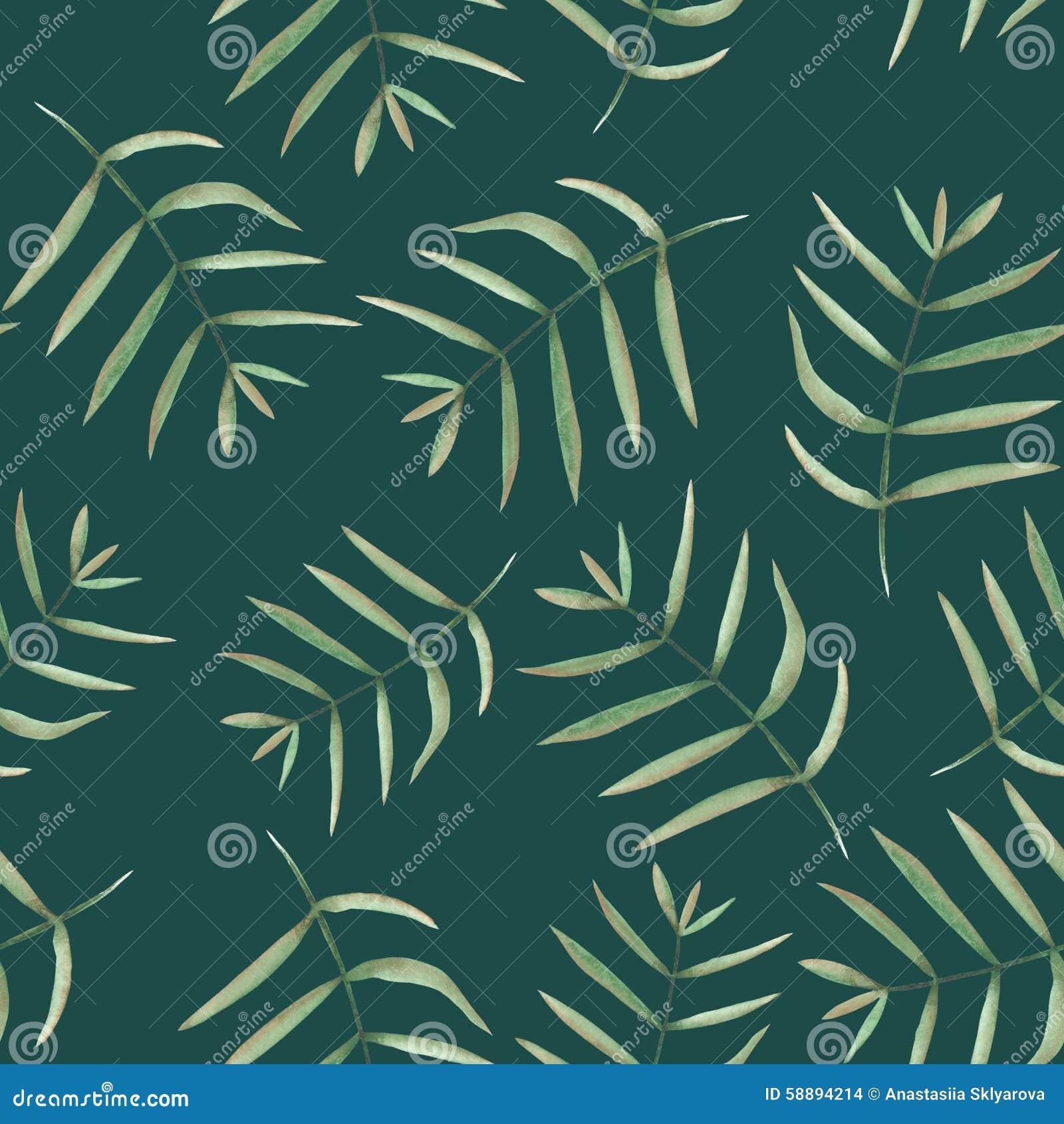 Bezszwowy kwiecisty wzór z akwarelą rozgałęzia się z zielonymi liśćmi