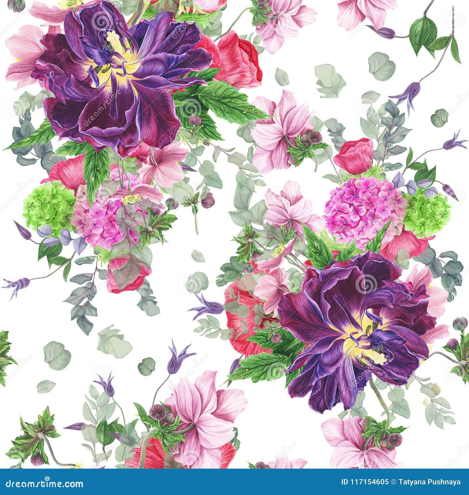 Bezszwowy kwiecisty wzór z tulipanami, anemonami, hortensją, eukaliptusem i liśćmi, akwarela obraz