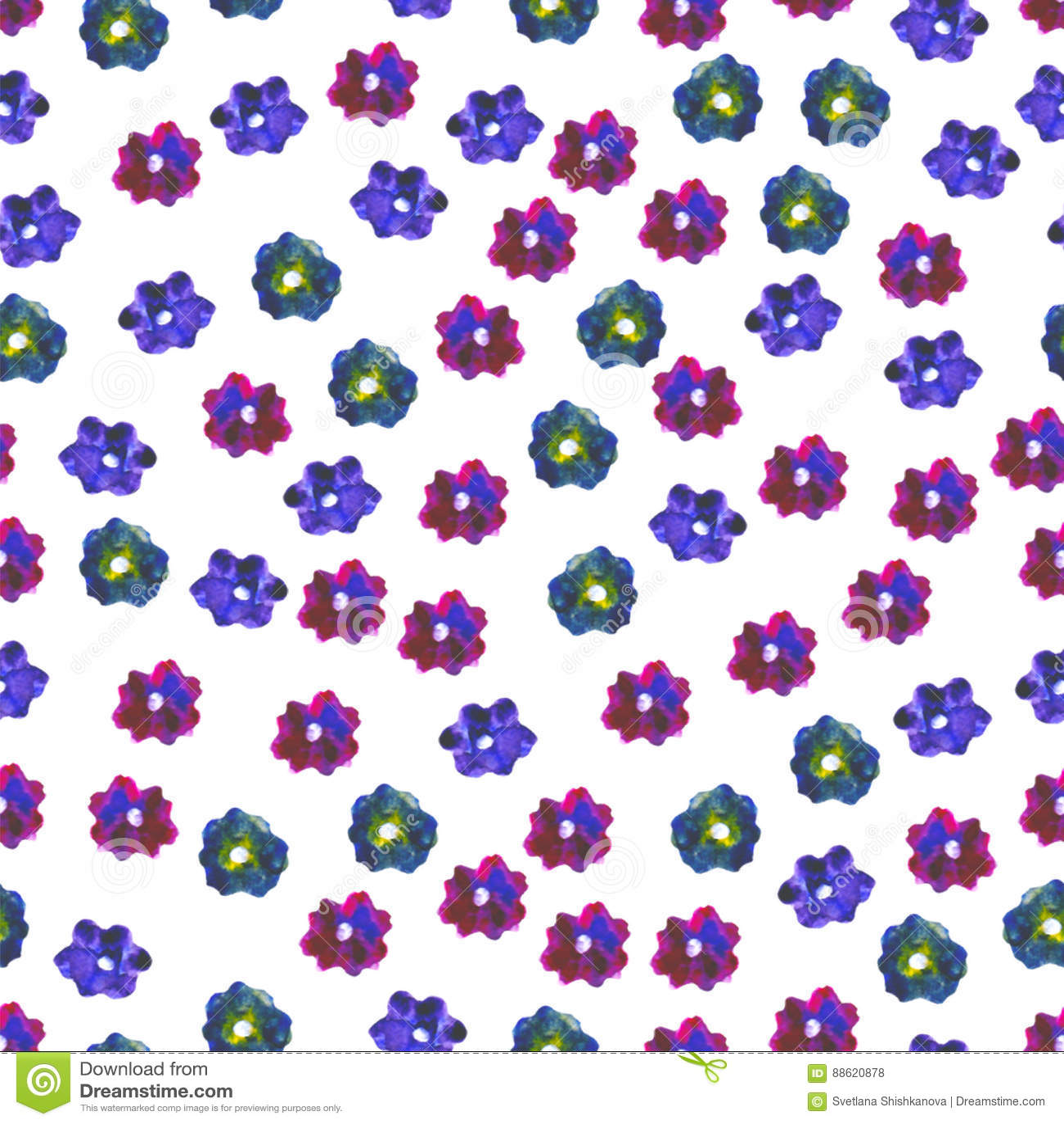 Bezszwowy kwiecisty wzoru Ręka malująca stokrotki śliwka Jaskrawa akwareli ilustracja Kolorowi kwiaty na białym tle