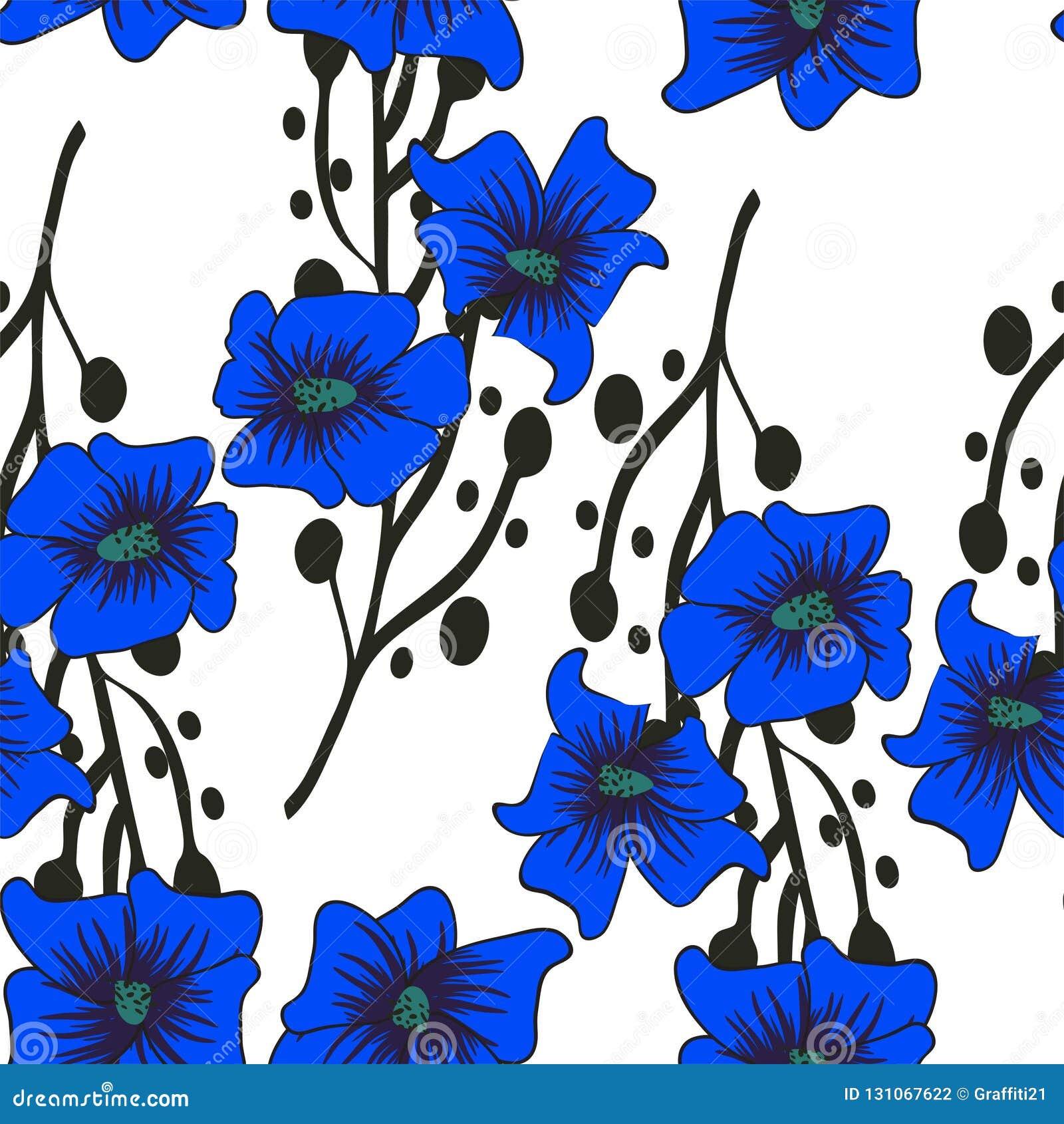 Bezszwowy kwiecisty wzoru Ręka rysujący abstrakcjonistyczny gradient kwitnie z doodle dekoracją Kolorowy artystyczny projekt Ja m