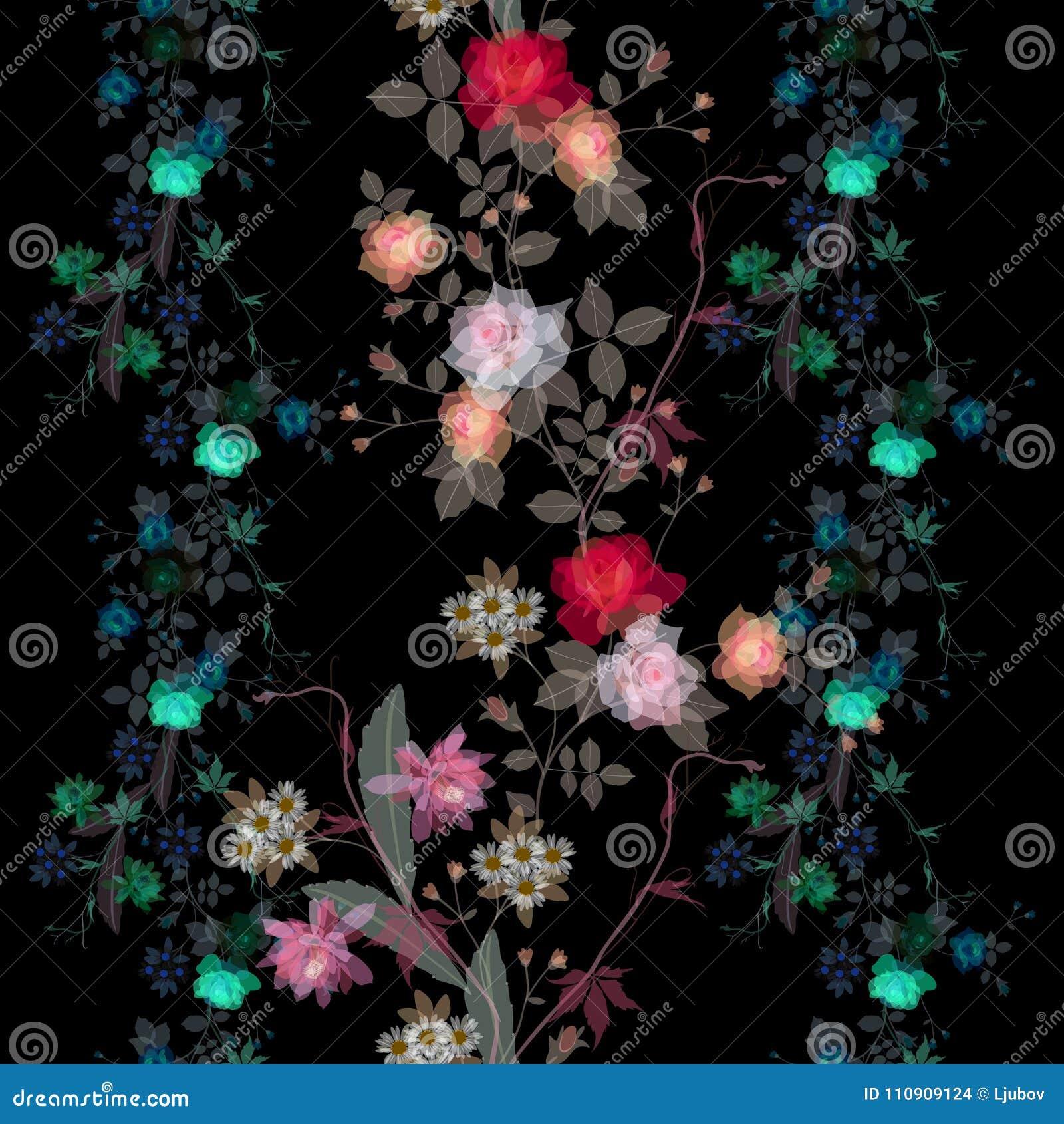 Bezszwowy magiczny kwiecisty wzór z przezroczystość jaskrawymi kwiatami