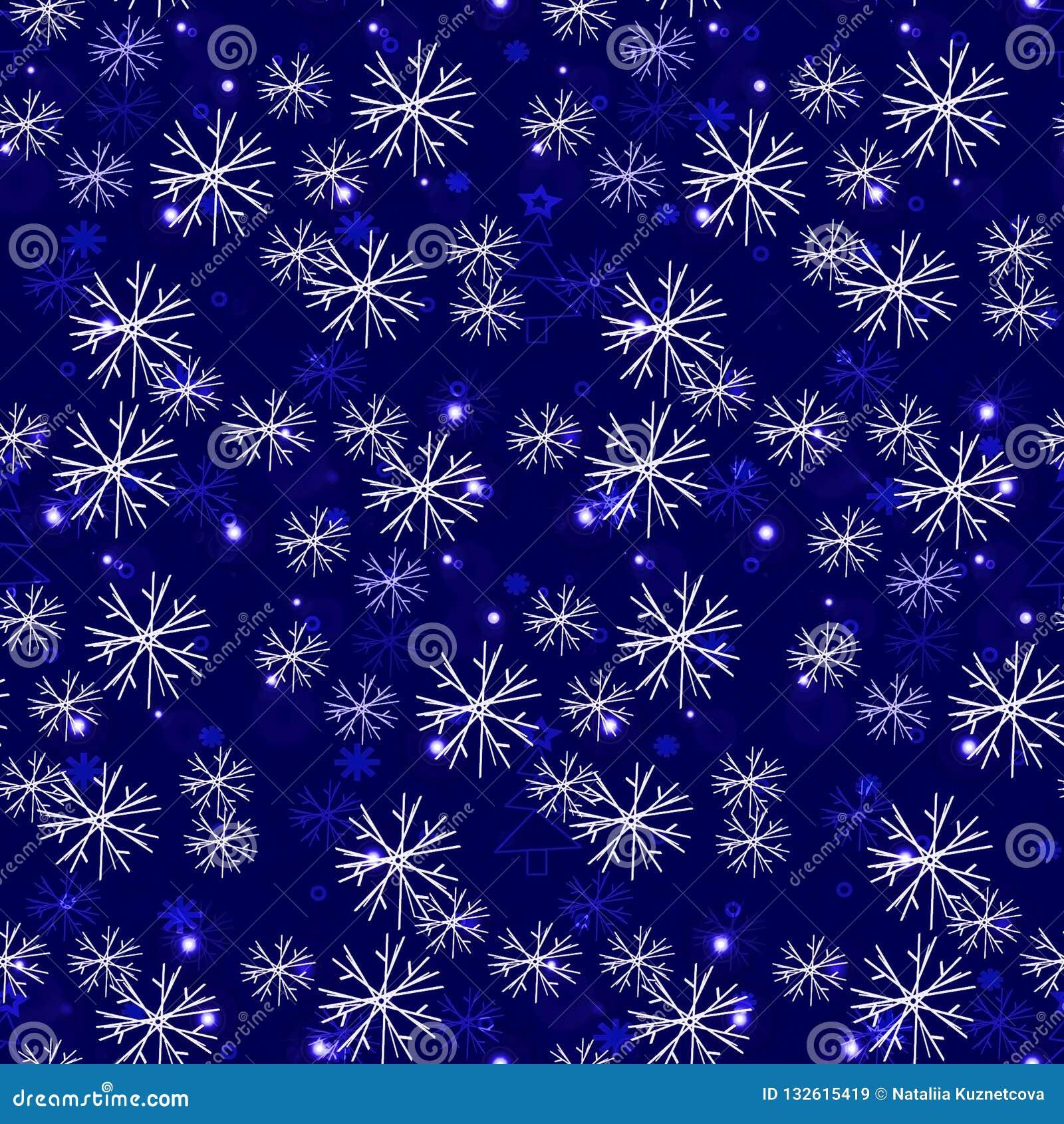 Bezszwowy mroźny wzór, płatek śniegu my szklana ilustracja