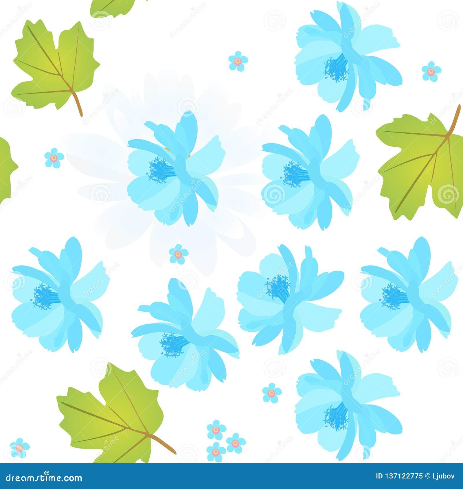 Bezszwowy naturalny wzór z błękitnym kosmosem i zapomina ja nie kwiaty, viburnum liście na białym tle Wiosna wektorowy projekt