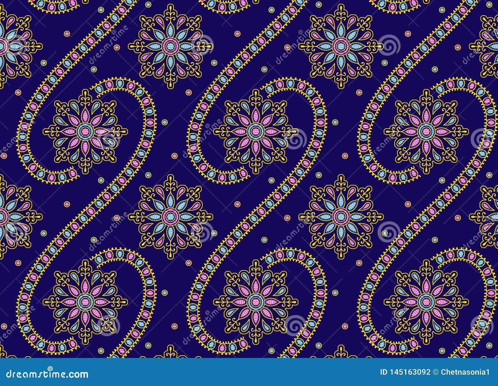 Bezszwowy ornamentu projekt z błękitnym tłem