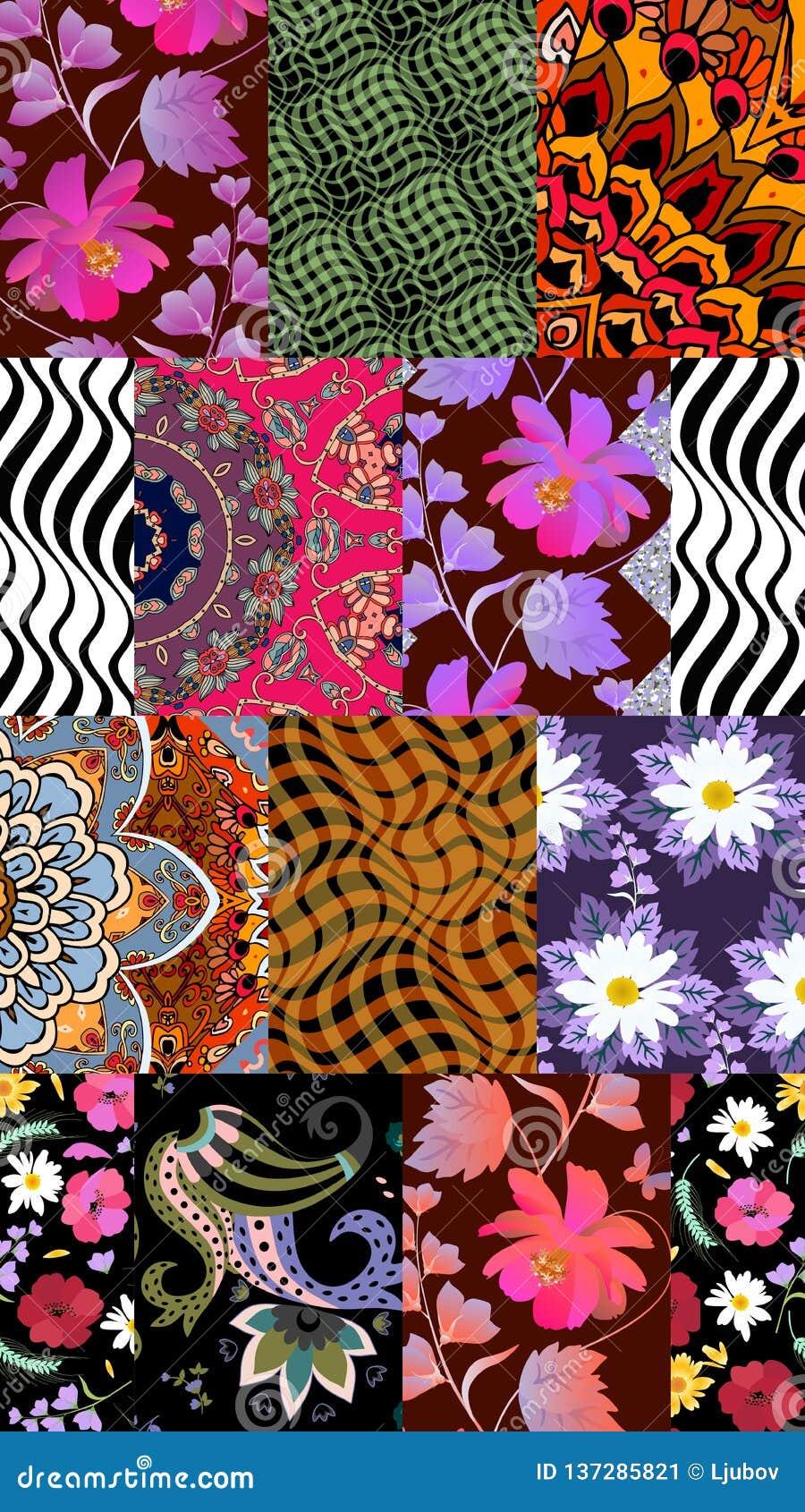 Bezszwowy patchworku wzór z kwiatami, falami i Paisley w wektorze stokrotki i kosmosu,