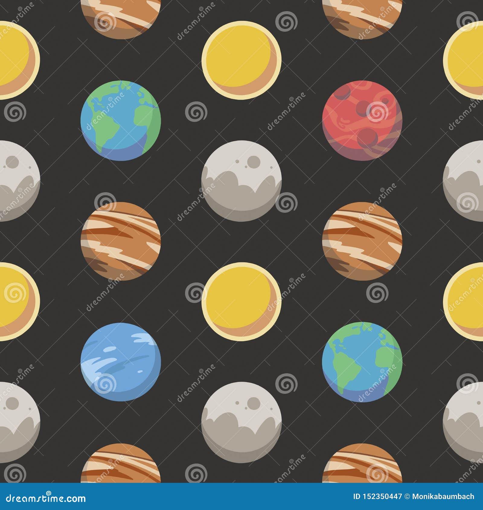 Bezszwowy przestrzeń wzór z różnym kolorowym kreskówka stylem planetuje wliczając ziemi, mąci, Jupiter i słońce na czarnym BG