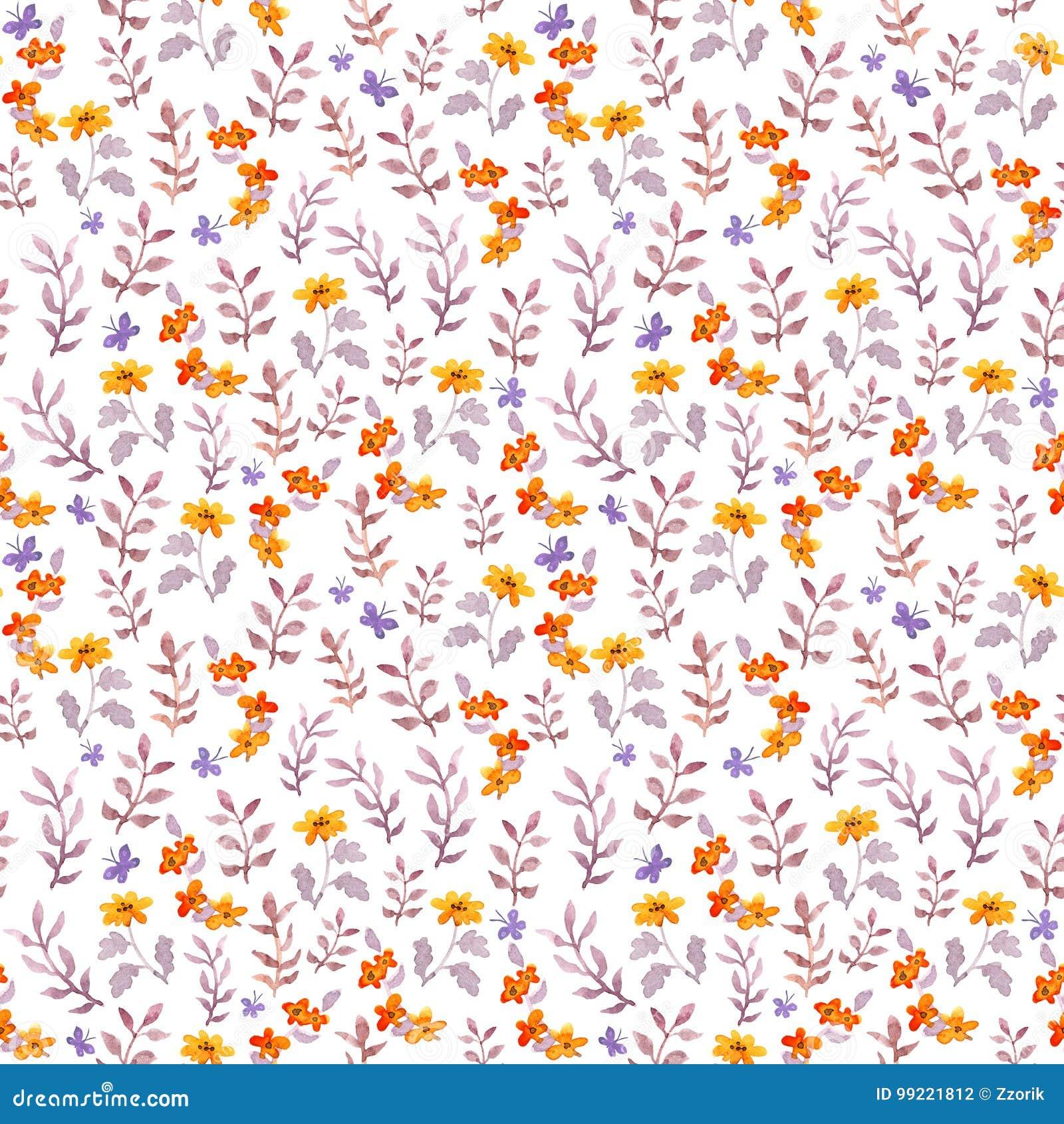 Bezszwowy retro dekoracyjny kwiecisty swatch Śliczni kwiaty, liście i retro motyle, Aquarelle