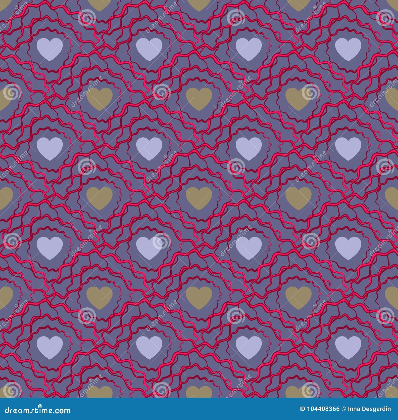 Bezszwowy serce abstrakcjonistyczny wzór Valetines dzień lub dziewczęcy
