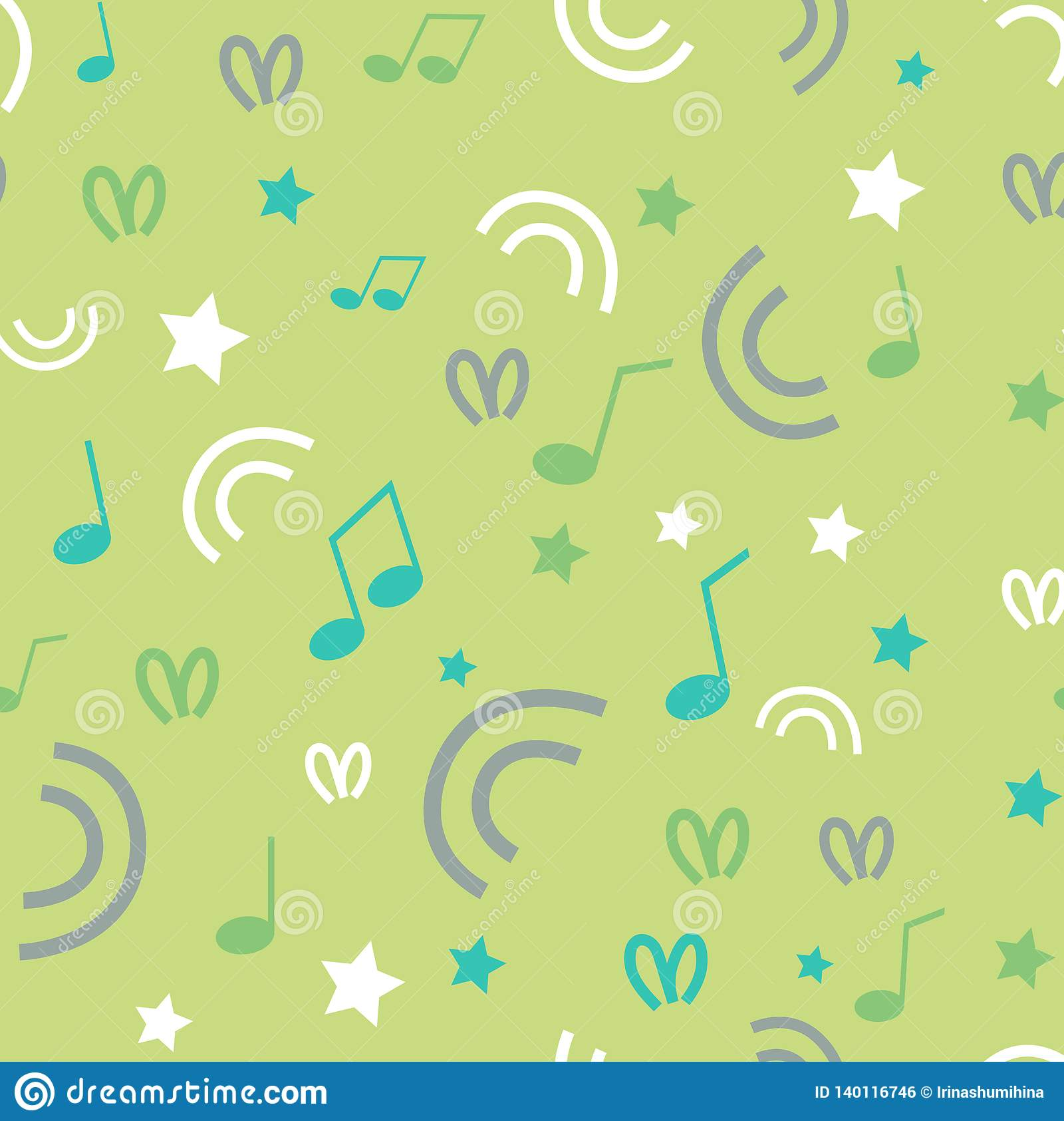 Bezszwowy tło z gwiazdami, zawijasy, kropki, muzykalne notatki na zielonym pastelowym tle Tkaniny tapeta lub projekt