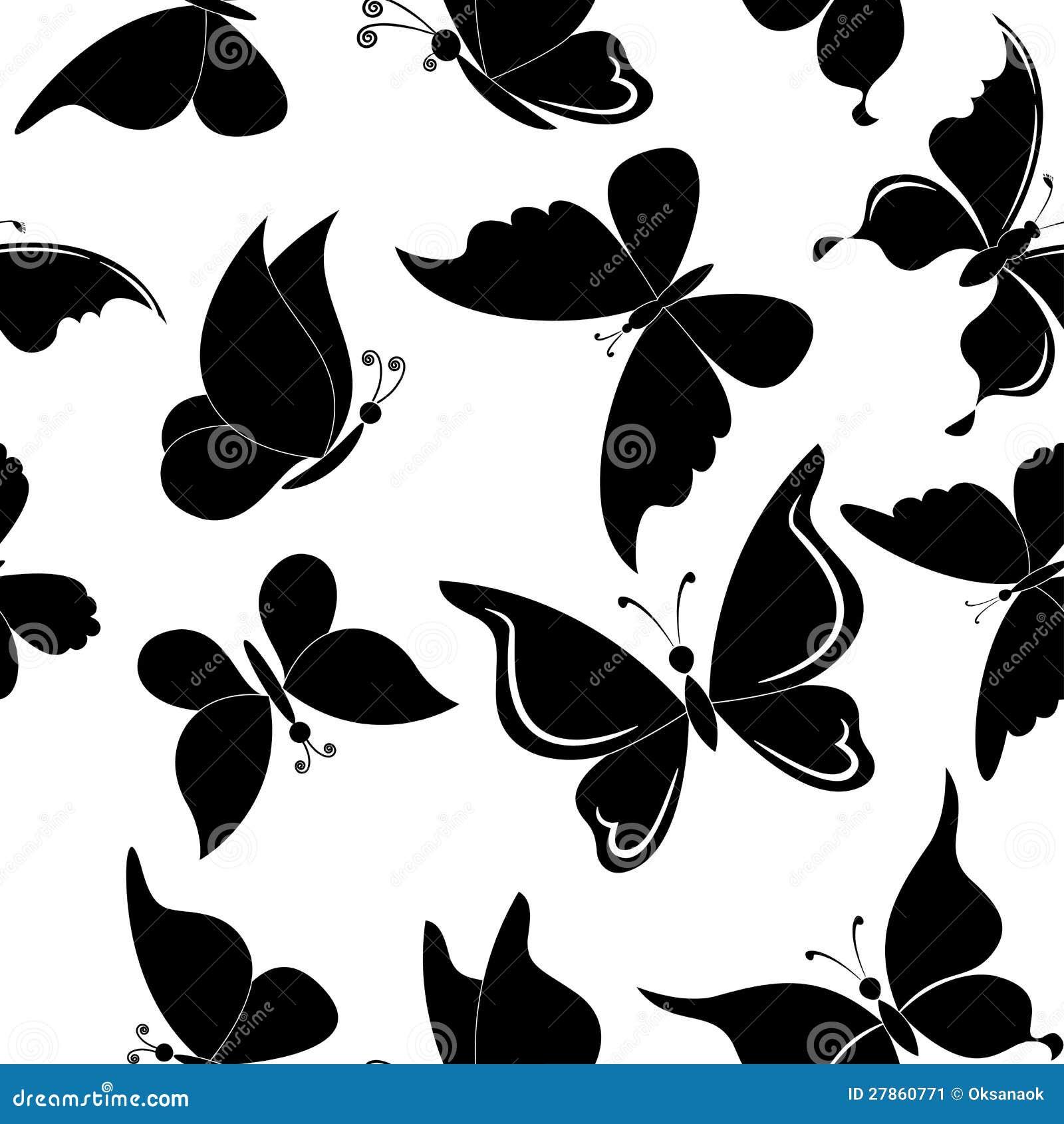 Bezszwowy tło, motyl sylwetki