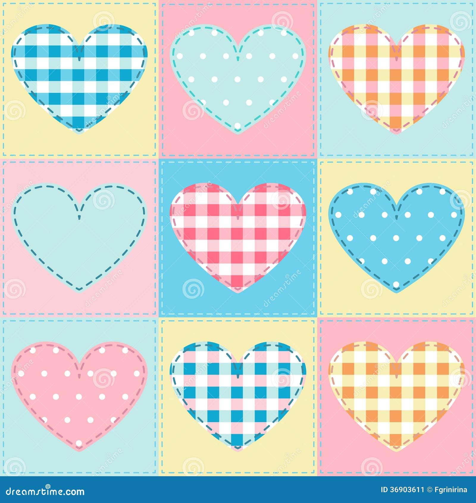 Bezszwowy tło z serce tkaniną, patchwork