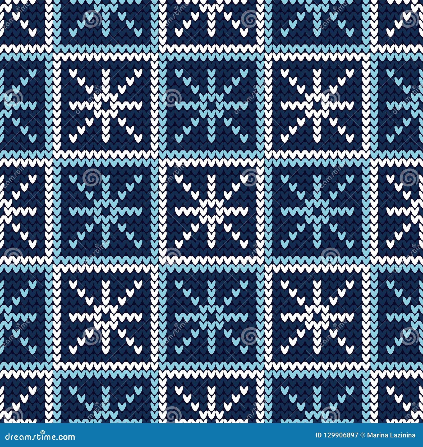 Bezszwowy tło z Trykotowymi dekoracyjnymi płatek śniegu trykotowy wzór Wesoło boże narodzenia i Szczęśliwy nowy rok! Szczęśliwa z